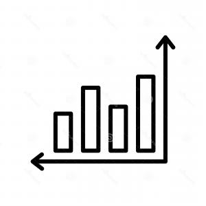 Bar Graph Icon Vector: Growing Bar Graph Icon In Flat Style Increase Vector