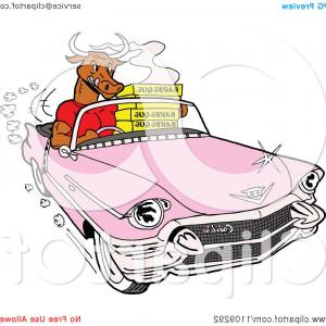 Vector Bull BBQ: Barbeque Delivery Bull Driving A Pink Cadillac Convertible