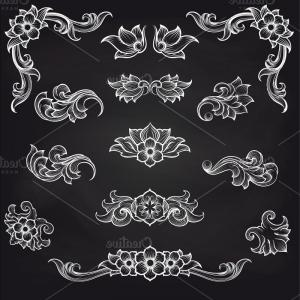 Vector Scroll Leaf Patterns: Baroque Engraving Leaf Scroll Design