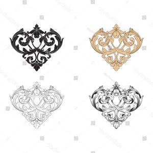 Vector Filigree Heart: Love You Script Filigree Heart Shape