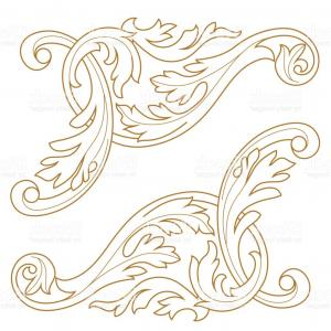 Baroque Vector Clip Art: Hand Drawn Vintage Damask Ornamental Elements For Design Baroque Square Frame Scroll Gm