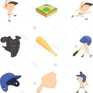 Anima Baseball Player Vector: Baseball Player Icons Set Cartoon Style Image