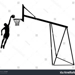 Dunking Basketball Silhouette Vector: Basketball Player Jumping Dunking Silhouette Isolated