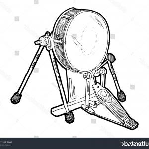Vector Bass Drum Pedal: Bass Drum Drumstick With Line Staff Circle Shape Logo Icon Outline Stroke Set Dash Gm