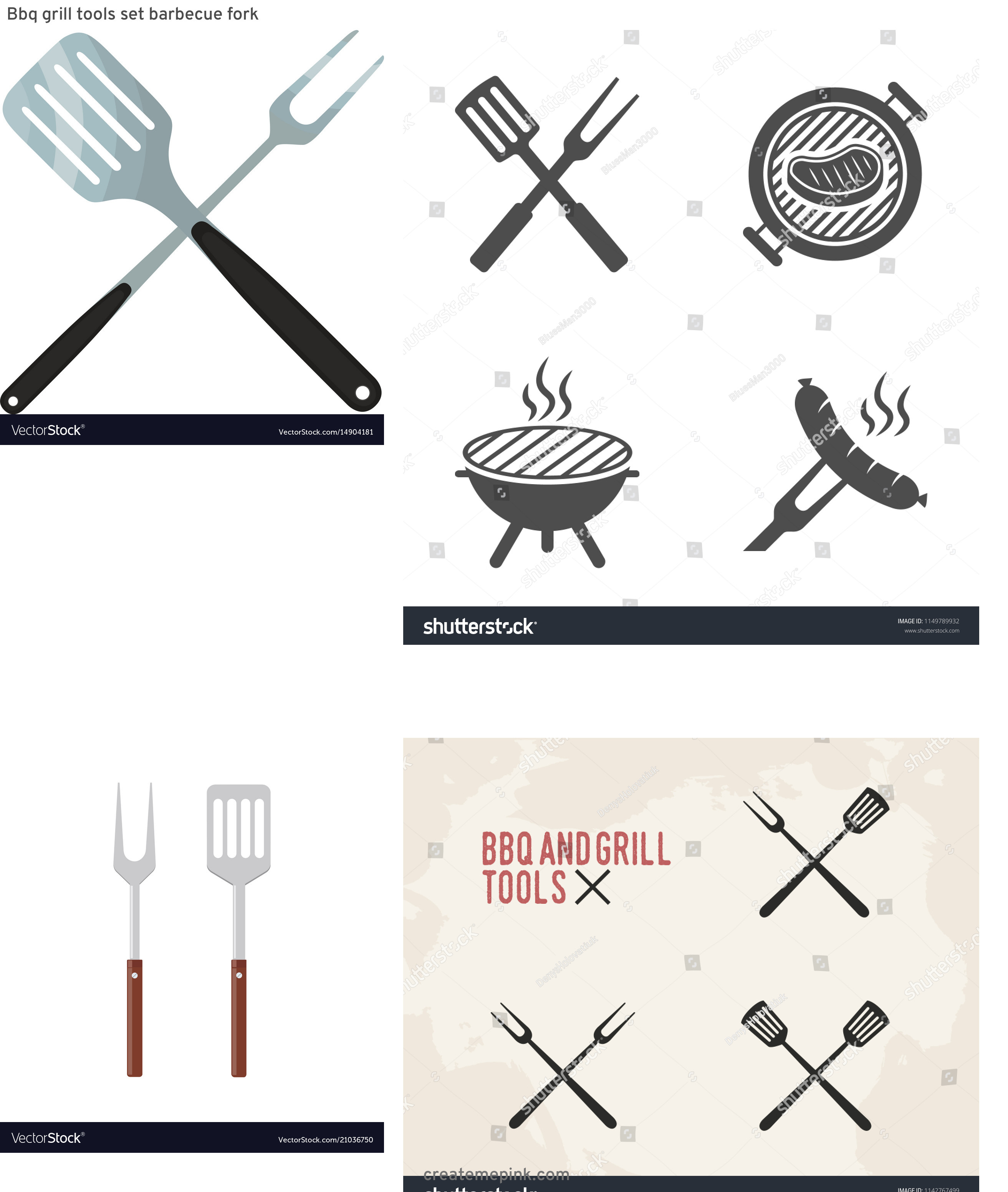 BBQ Fork Vector: Bbq Grill Tools Set Barbecue Fork