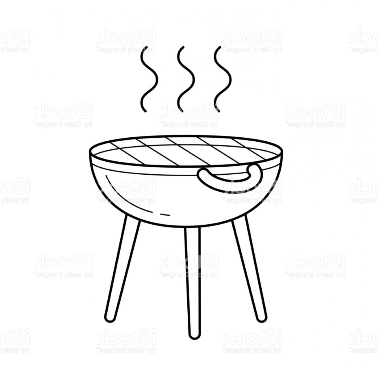 BBQ Grill Vector Black And White: Bbq Grill Vector Line Icon Gm