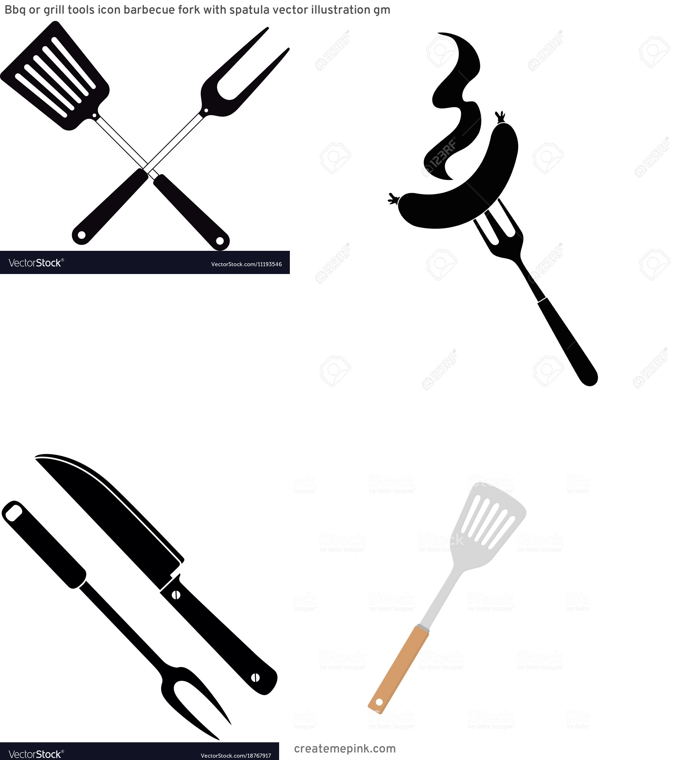 BBQ Fork Vector: Bbq Or Grill Tools Icon Barbecue Fork With Spatula Vector Illustration Gm