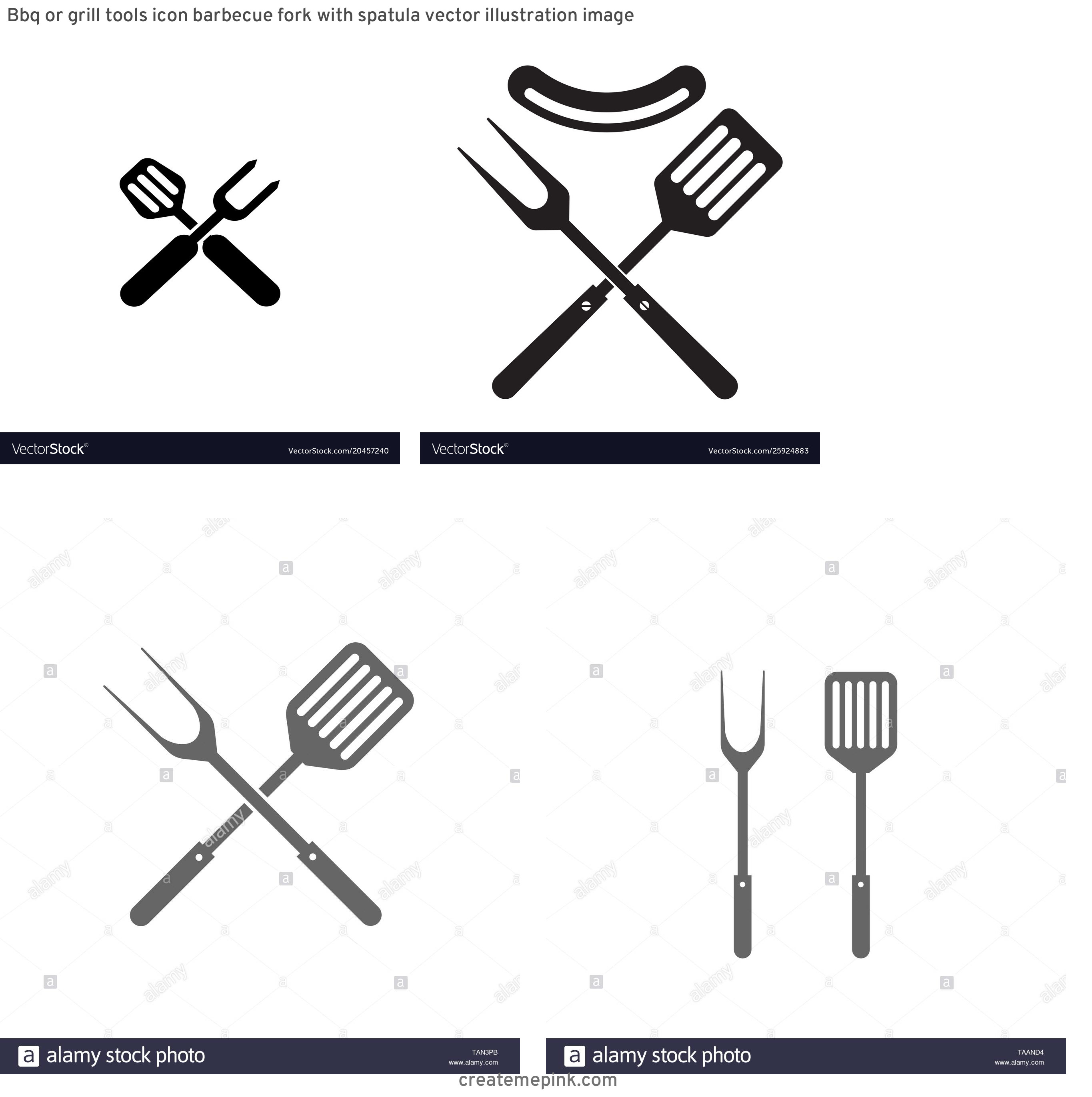 BBQ Fork Vector: Bbq Or Grill Tools Icon Barbecue Fork With Spatula Vector Illustration Image