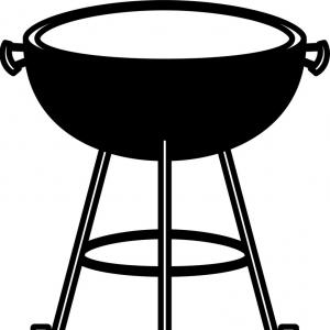 Frre Vector Grilling: Bbq Grill Front View Black Silhouette Vector