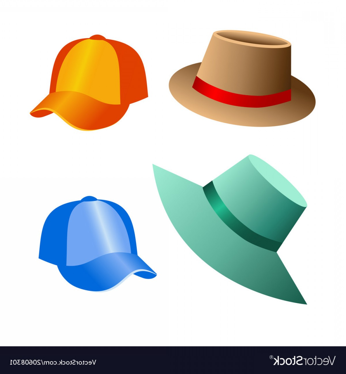 Vector Beach Hats: Beach Hats And Caps For Decoration Of Postcards Vector