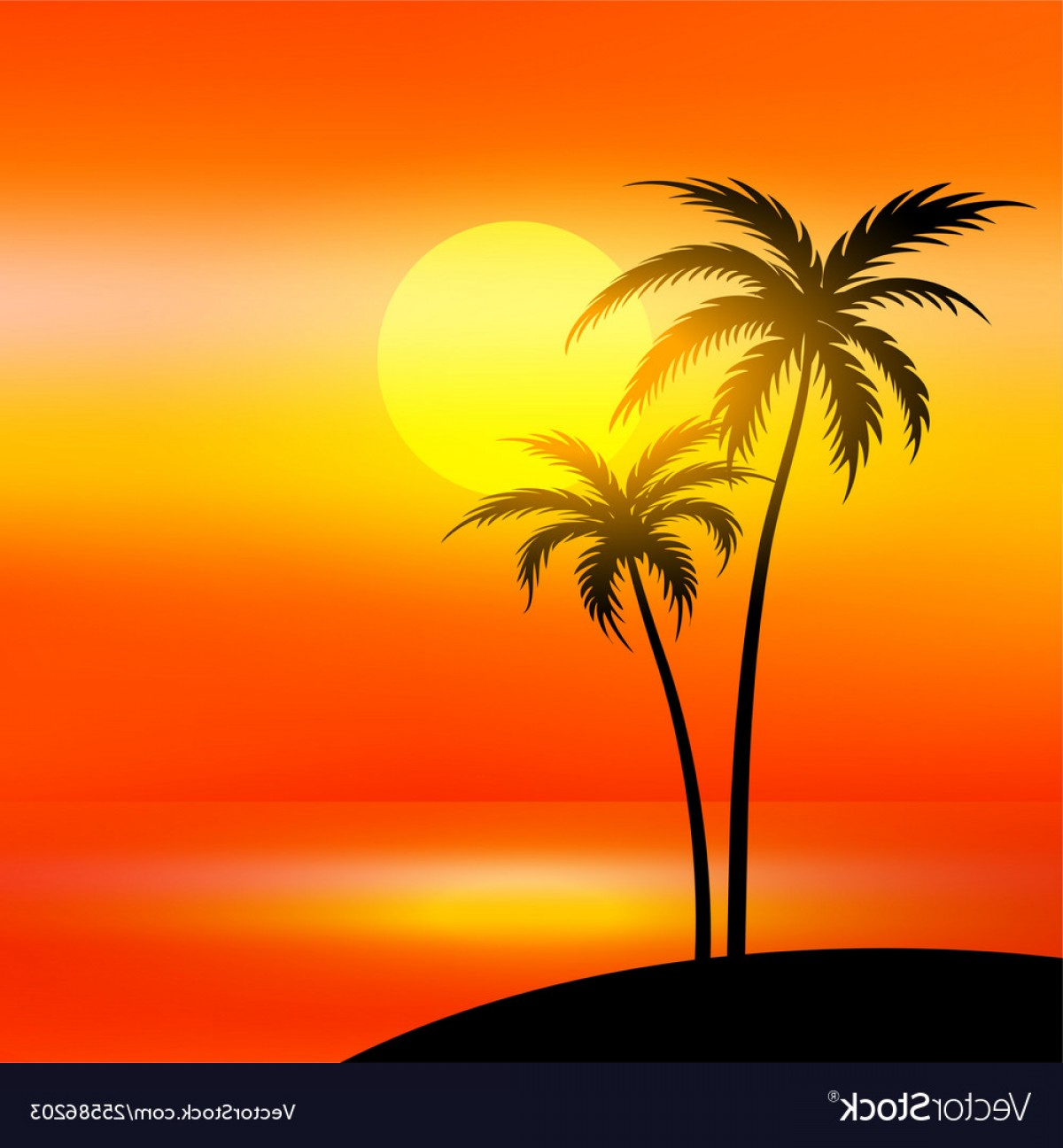 Sunset Beach Vector Outline: Beach Scene With Sunset And Palm Tree Vector