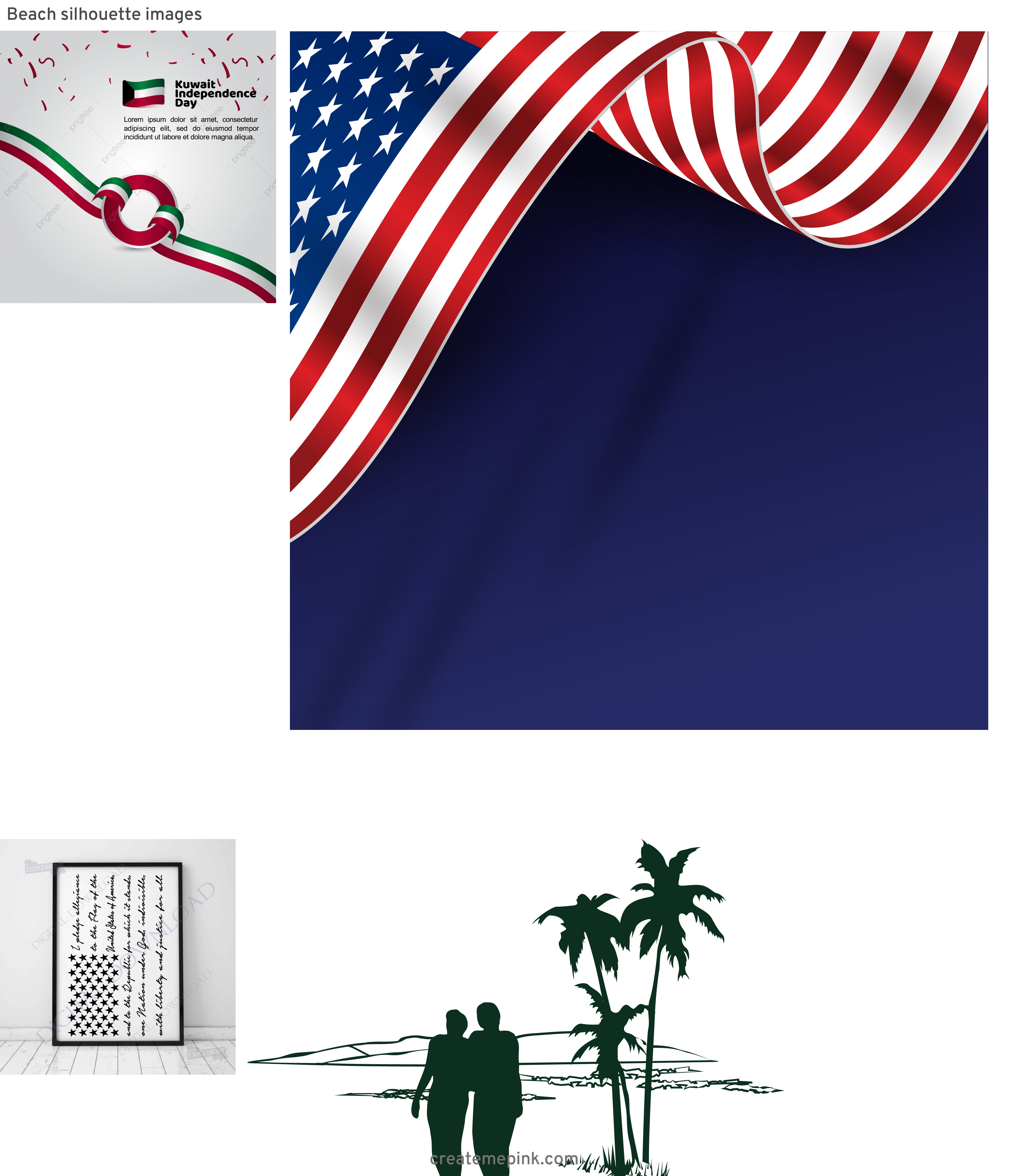 4th Of July Vectors For Men's: Beach Silhouette Images