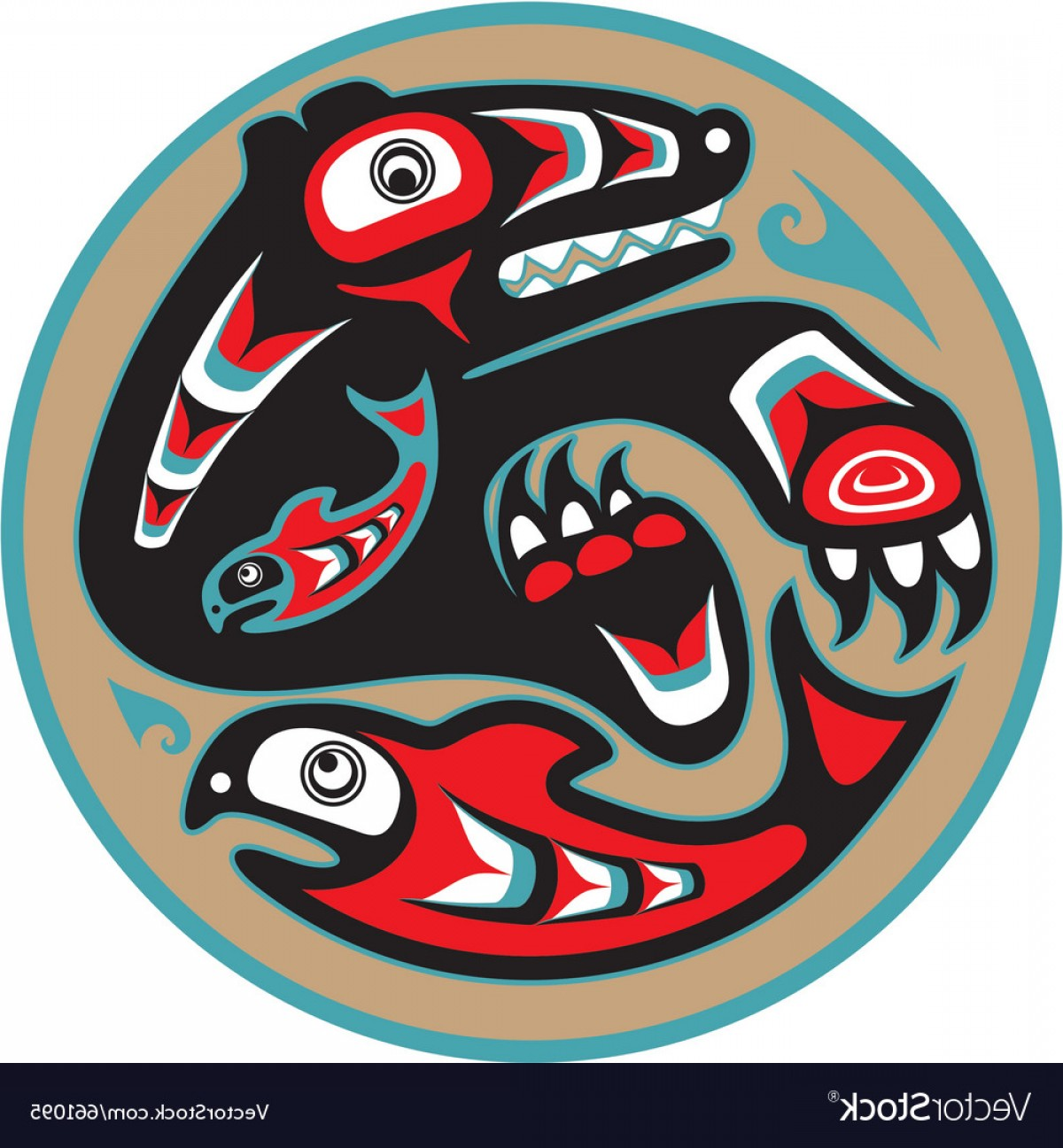 Vector Art Bear With Salmon: Bear Catching Salmon Native American Style Vector