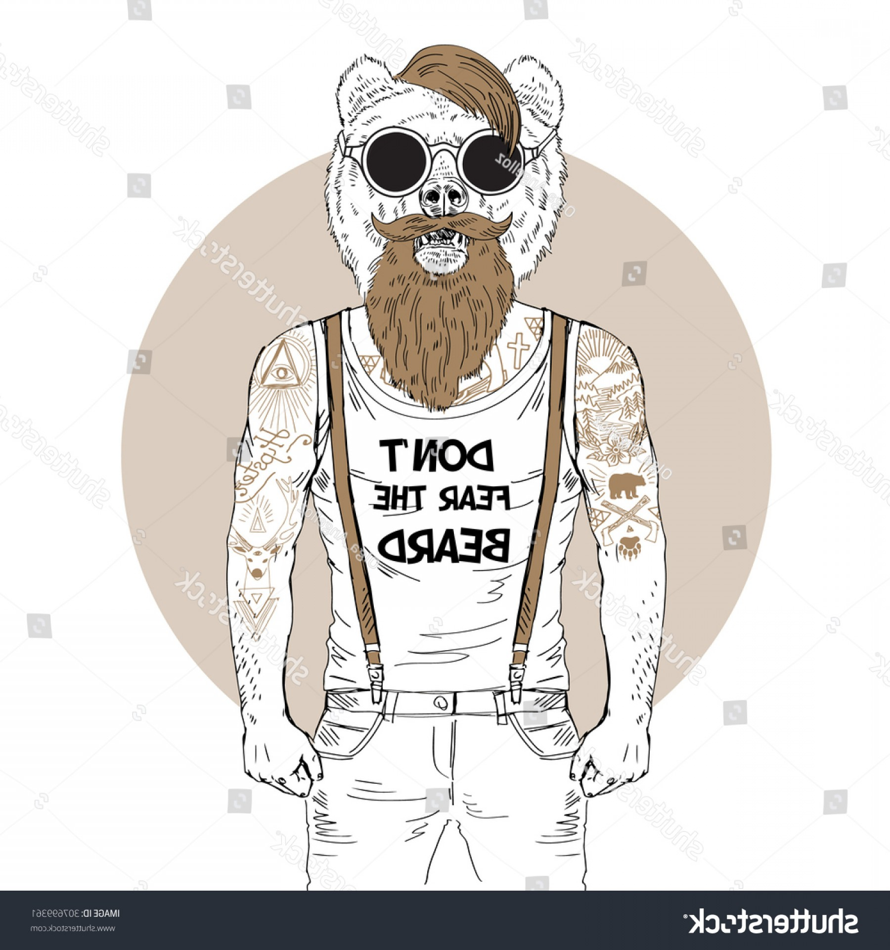 Fear The Beard Vector: Bearded Bear Hipster Tattoo Dressed Tshirt