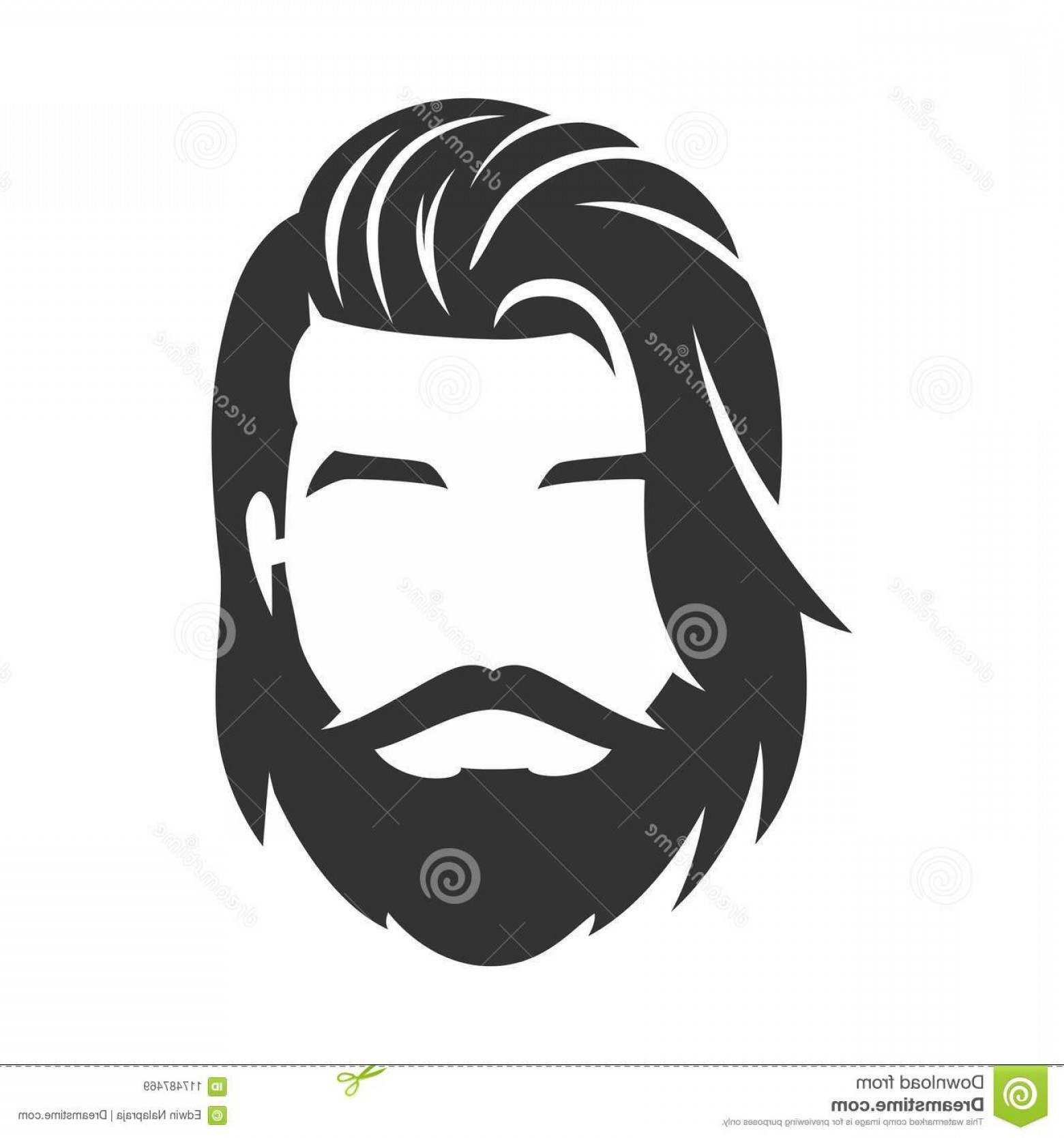 Short Men's Hair Vector: Bearded Man Face Hipster Character Long Hair Vector Mustache Isolated Background Hairstyle Image