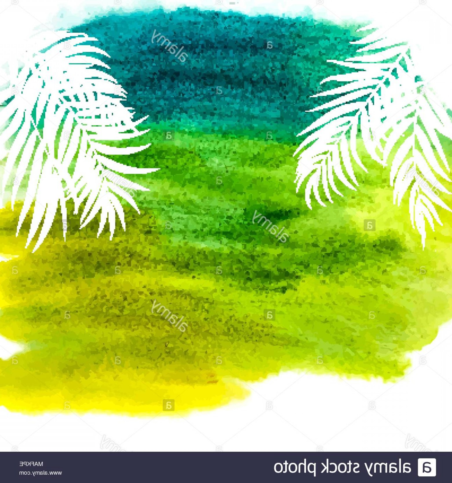 Watercolor Palm Tree Vector: Beautifil Palm Tree Leaf Silhouette With Aquarelle Watercolor Paint Background Vector Illustration Image