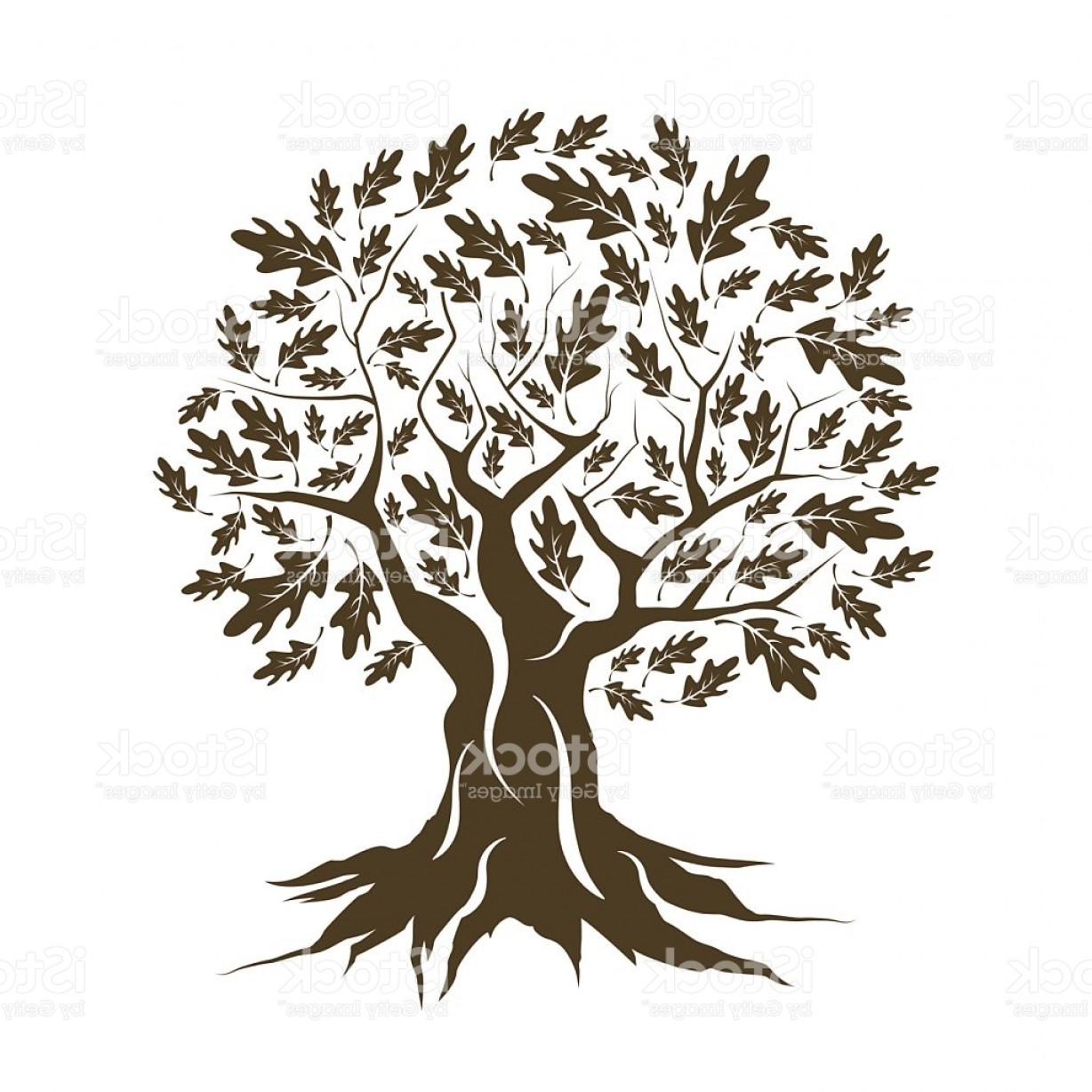 Oak Tree Silhouette Vector Graphics: Beautiful Brown Oak Tree Silhouette Isolated Gm