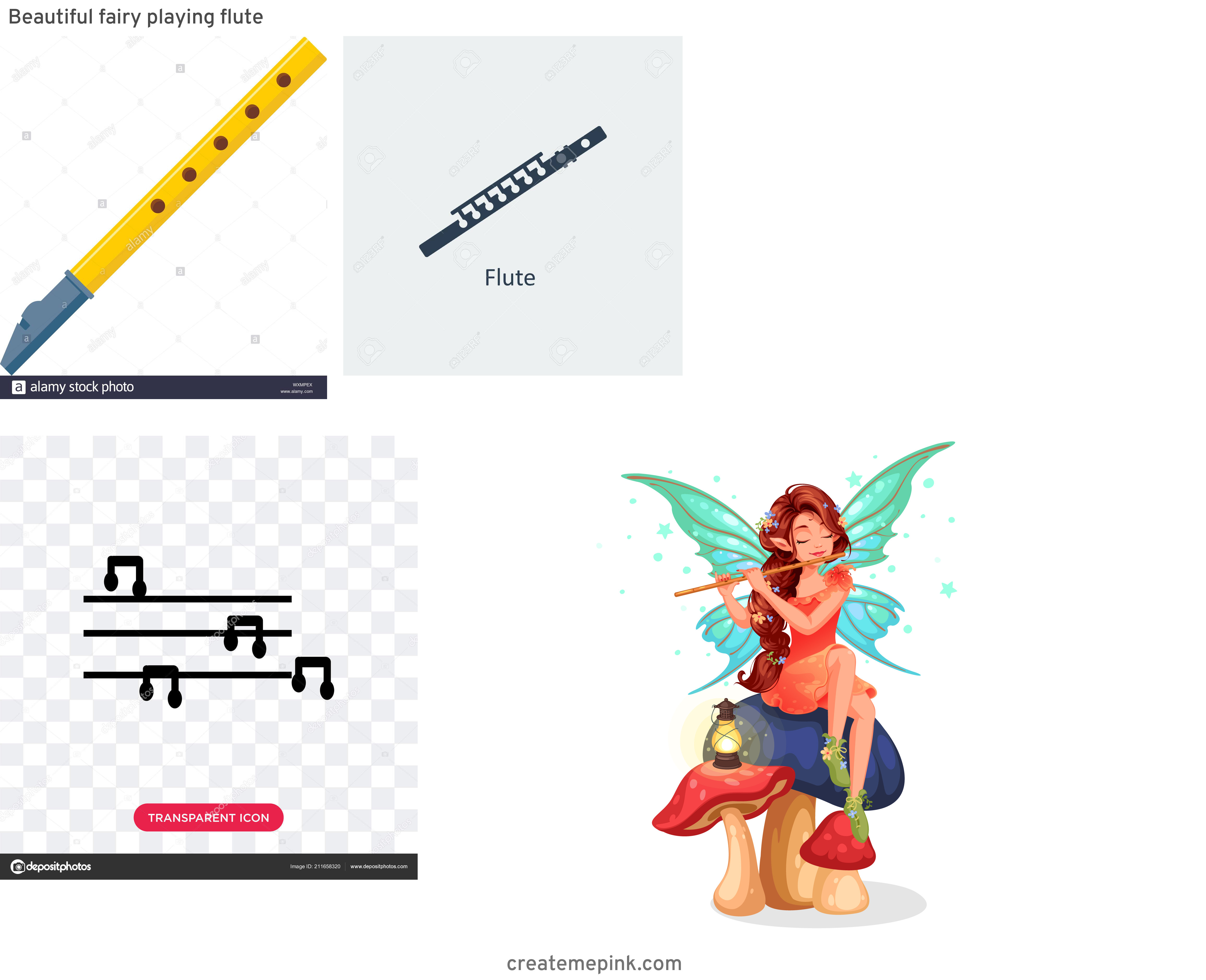 Flute Vector: Beautiful Fairy Playing Flute