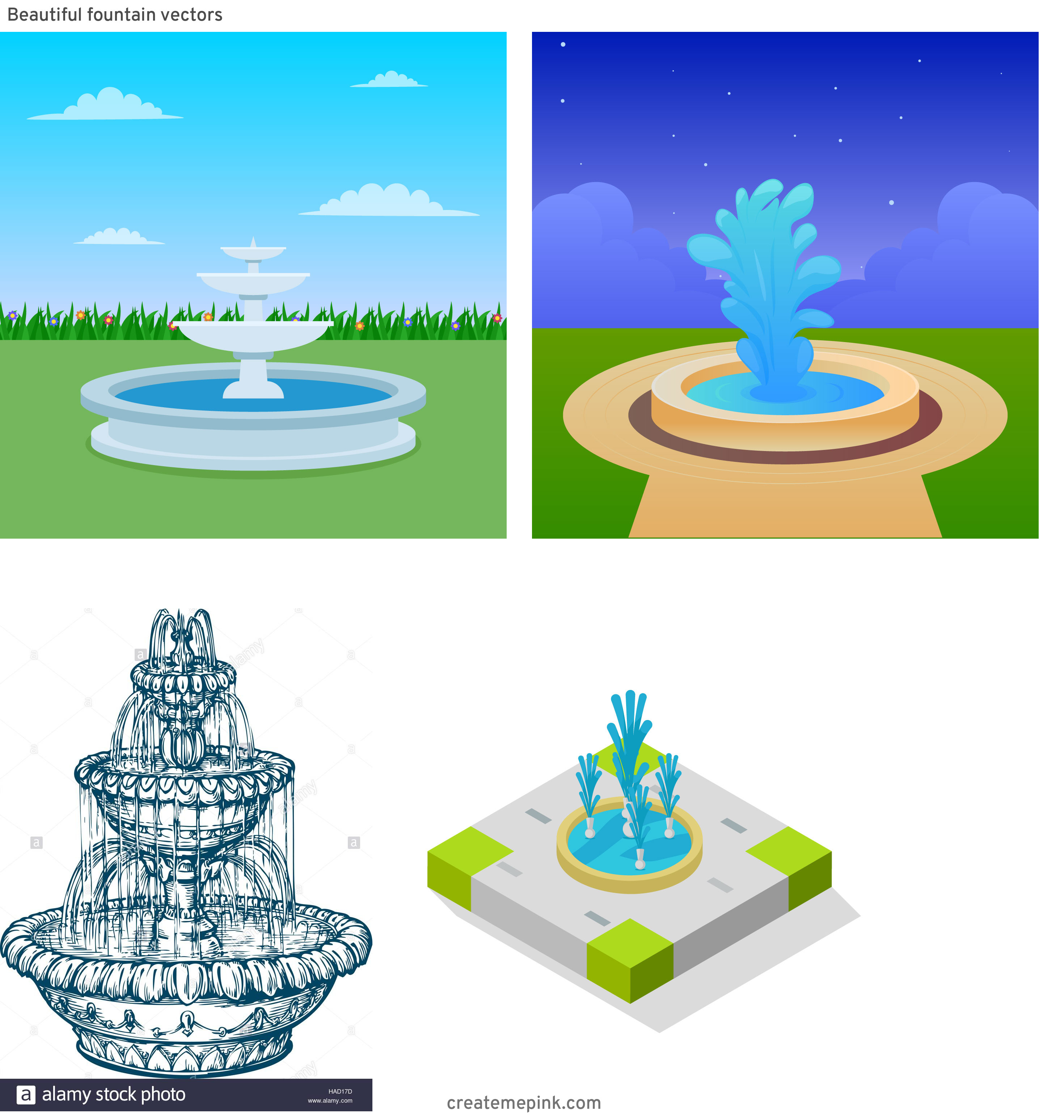 Pretty Fountain Vectors: Beautiful Fountain Vectors