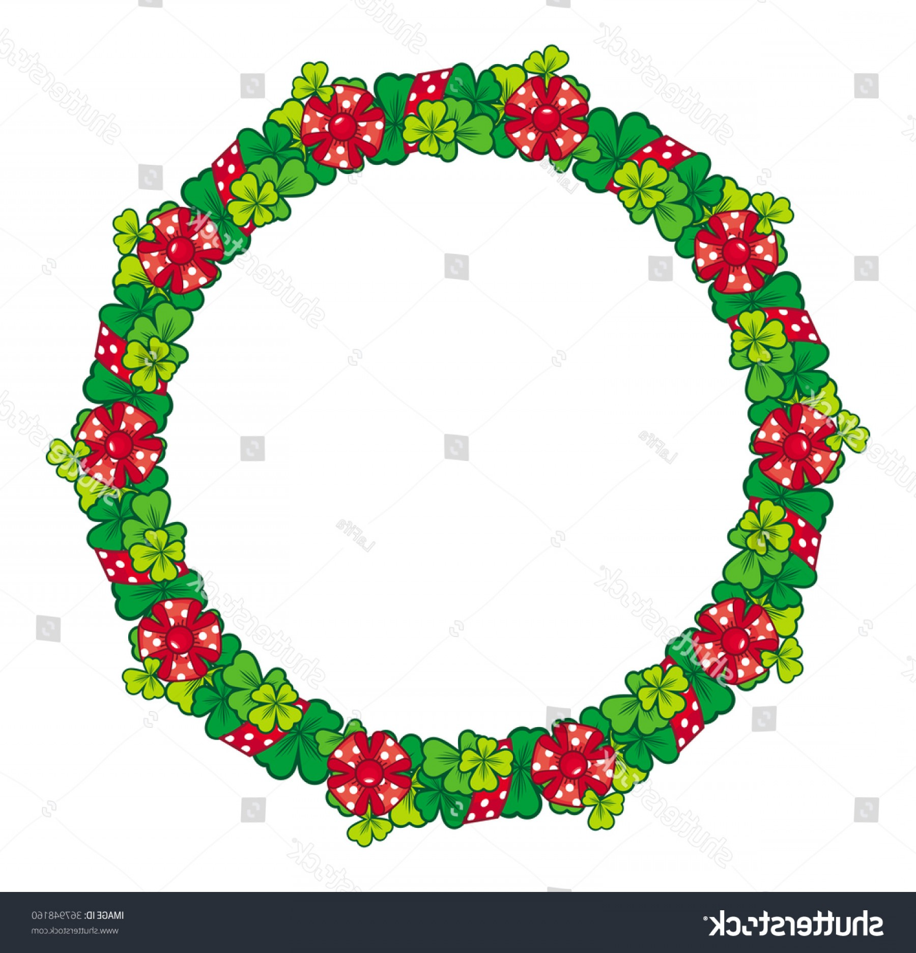 Summer Wreath Free Vector Watercolor: Beautiful Frame Shape Wreath Clover Bows
