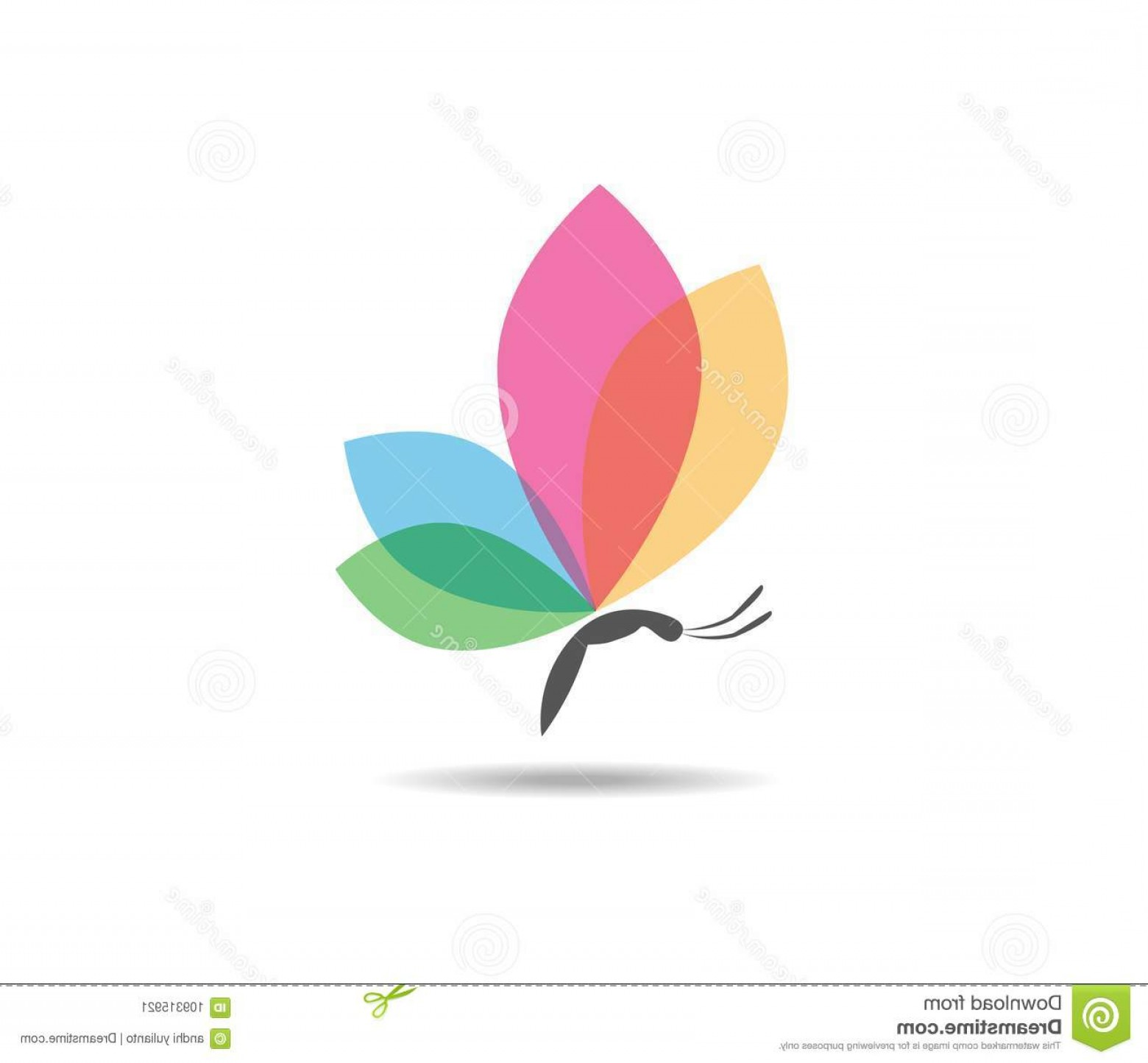beautiful graceful majestic colorful butterfly vector logo