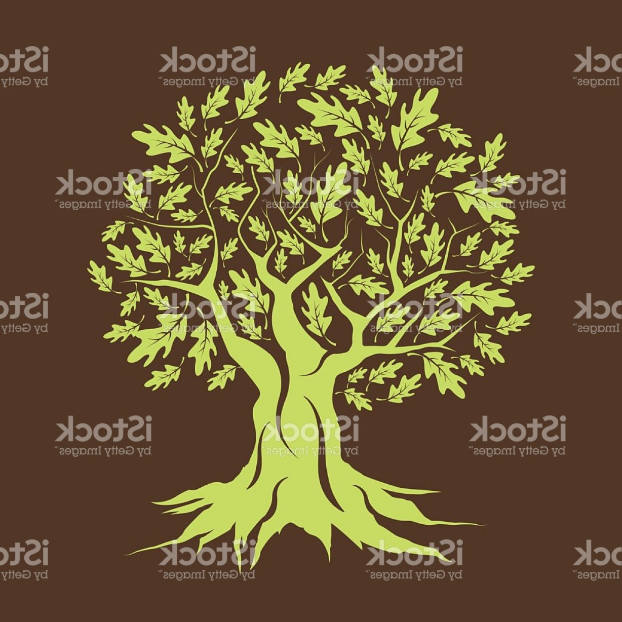 Oak Tree Silhouette Vector Graphics: Beautiful Green Oak Tree Silhouette Isolated Gm
