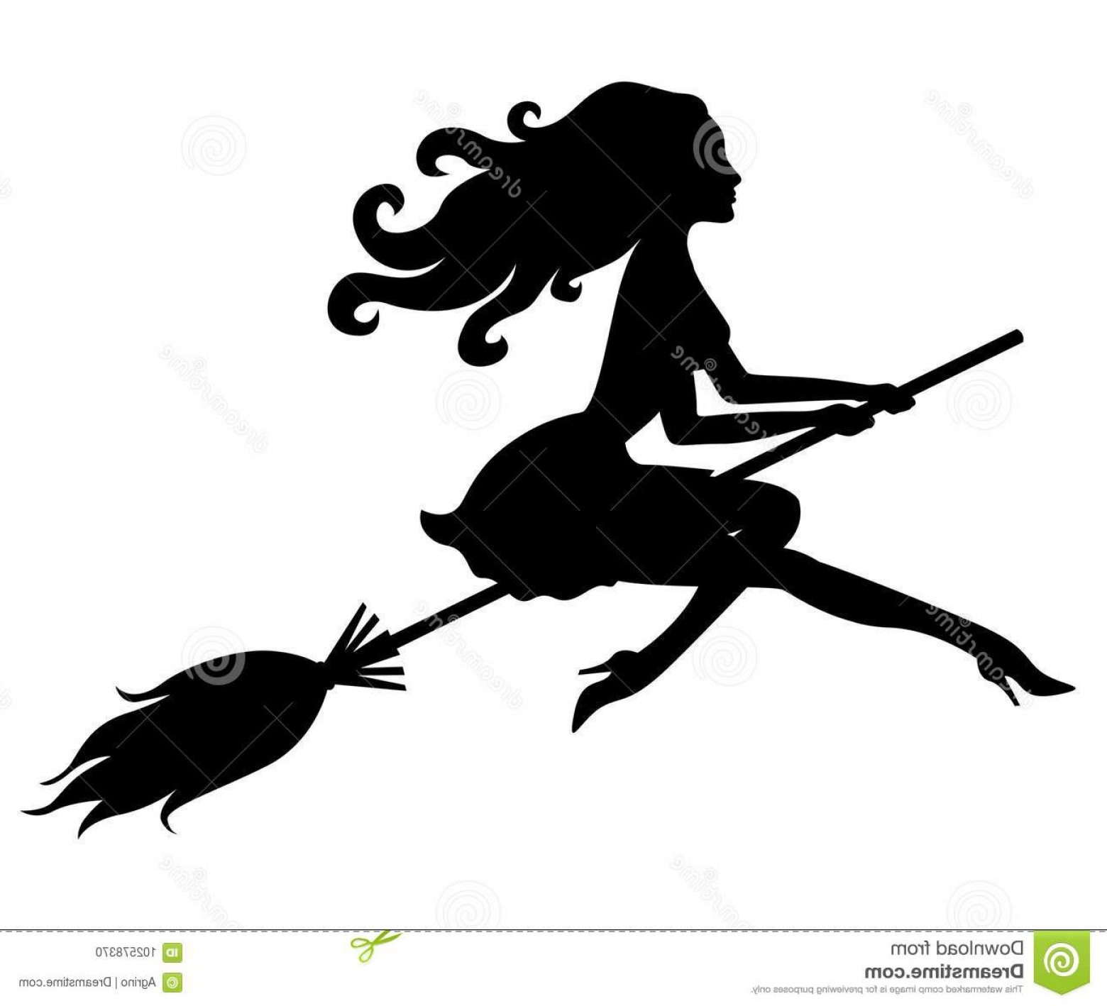 Witch Silhouette Vector: Beautiful Halloween Witch Silhouette Vector Illustrations Broom Fly Image