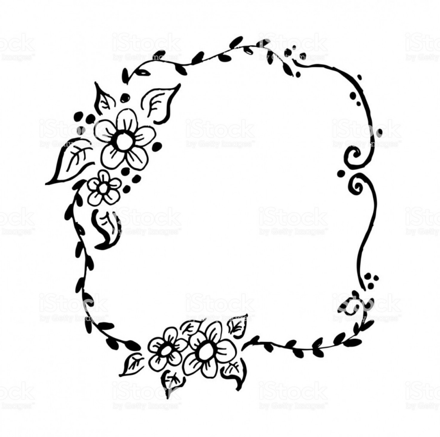 Floral Laurel Wreath Vector: Beautiful Hand Drawn Floral Rustic Wreath Vector Gm