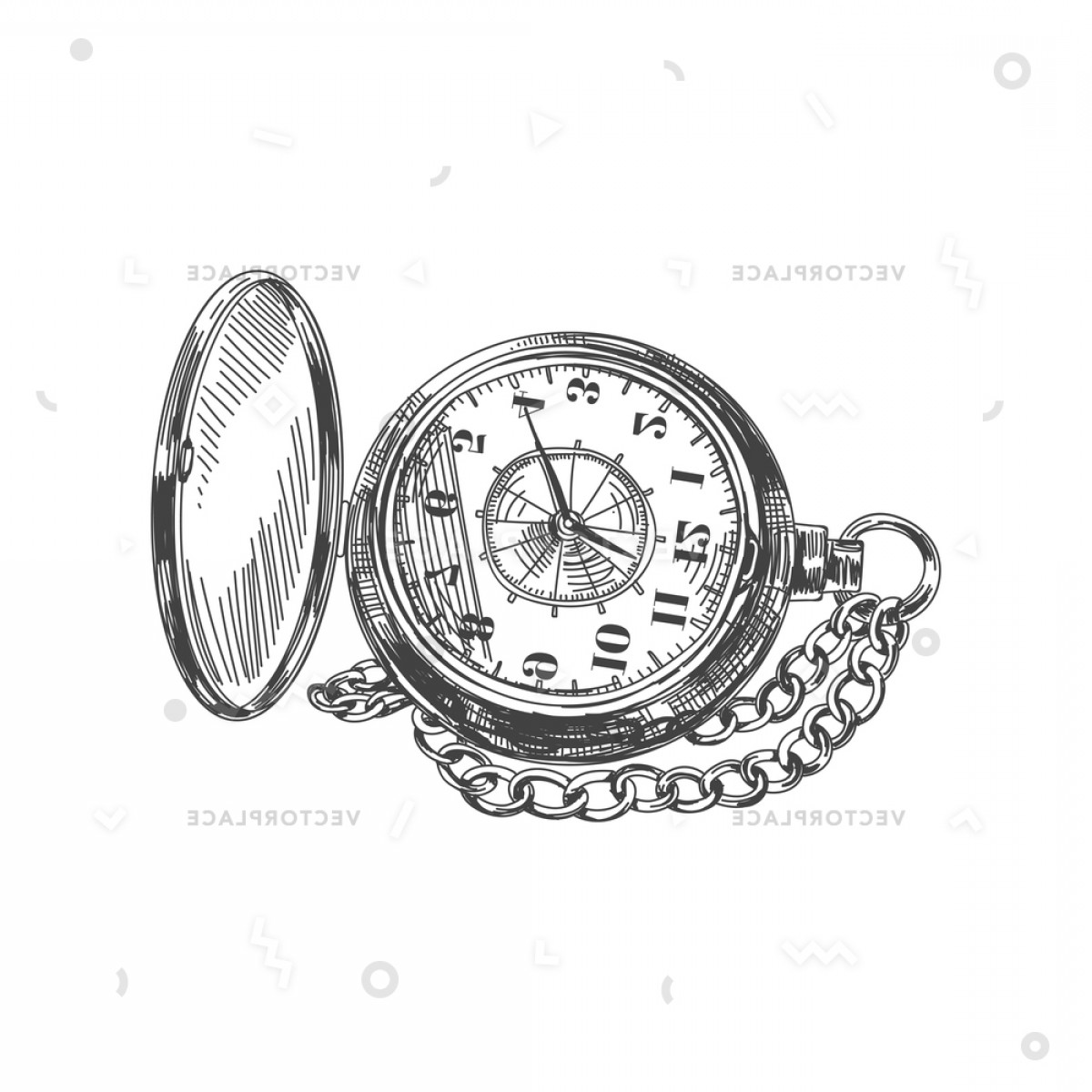 Stop Watch Vector Ai File: Beautiful Hand Drawn Vintage Pocket Watch Vector Illustration