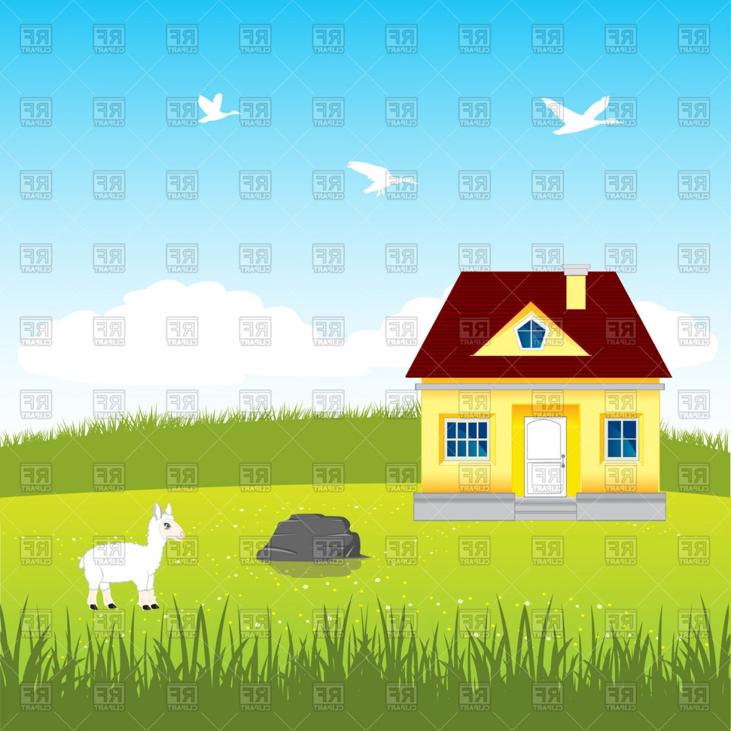 Farm Vector Illustration: Beautiful House On Year Glade Farm Vector Clipart
