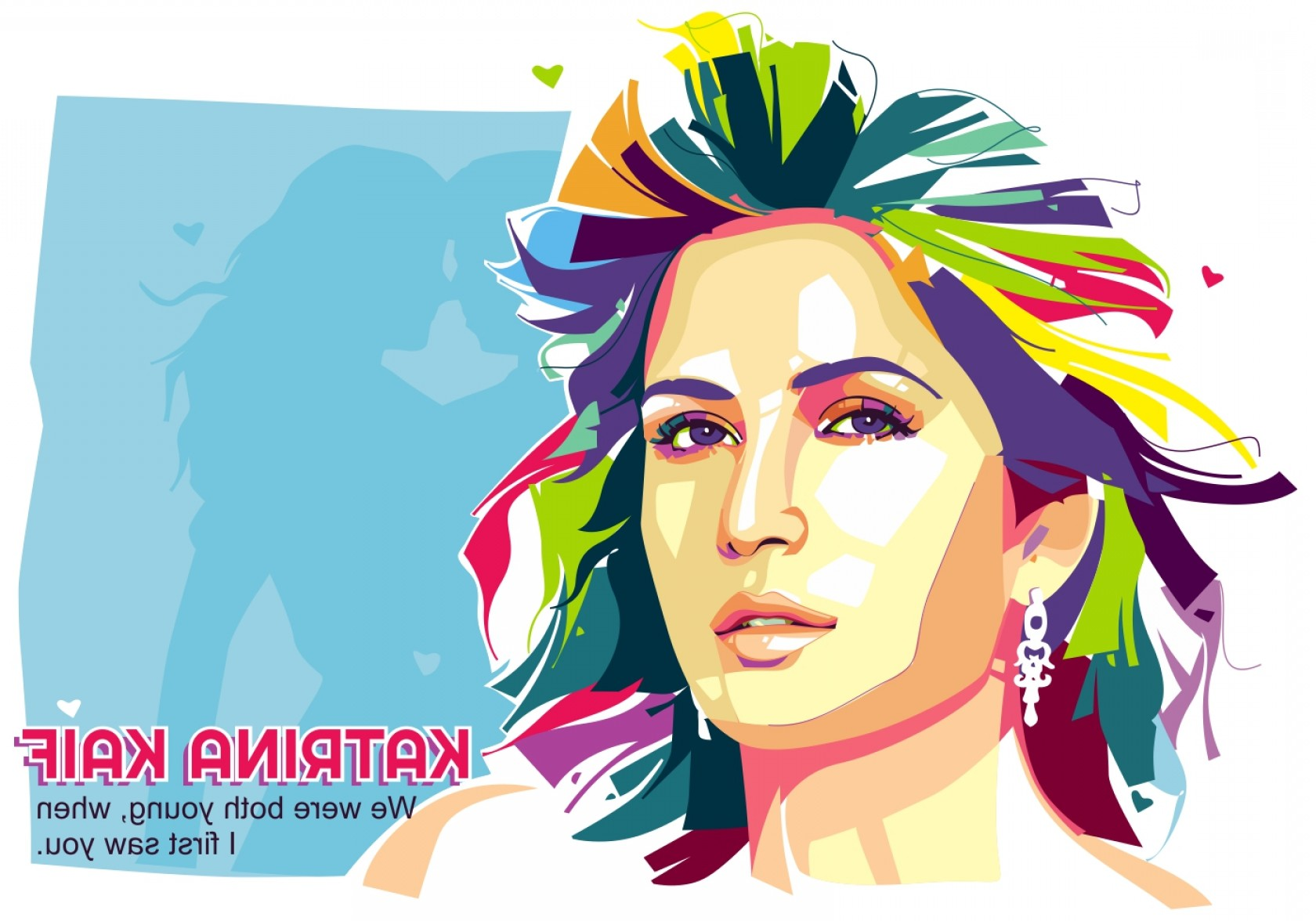 Handsome Man Vector Outline: Beautiful Katrina Kaif Popart Portrait