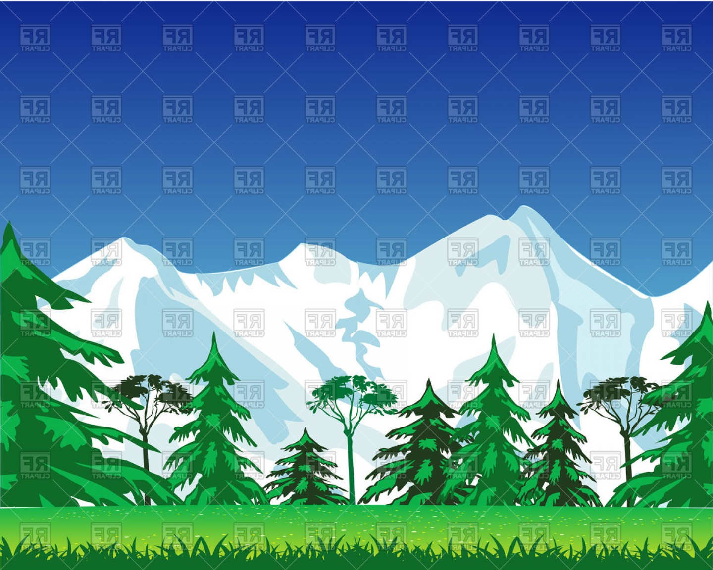 Snowy Mountain Vector Graphics: Beautiful Landscape Of Mountains Vector Clipart