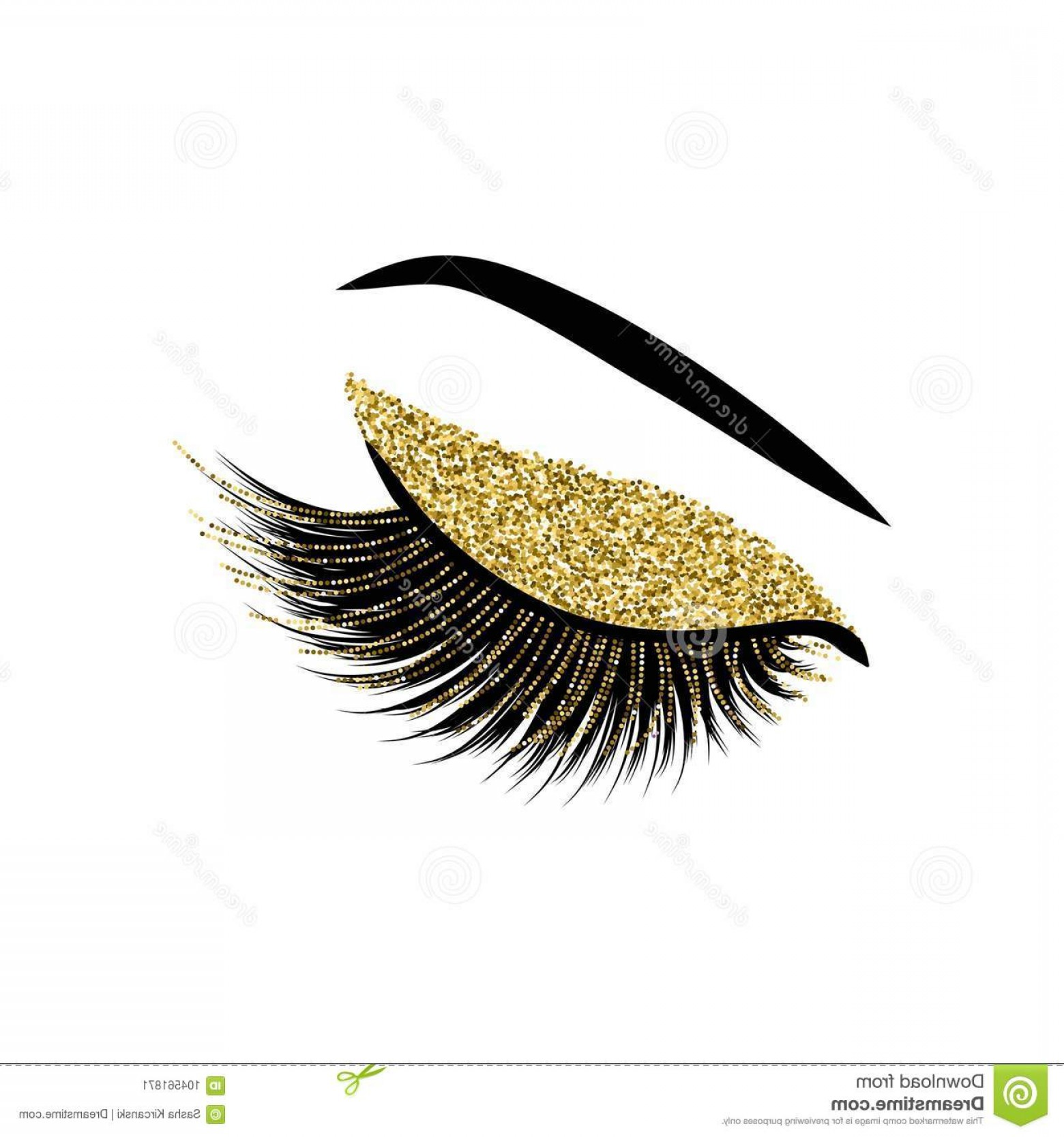 Top Eye Lashes Vector: Beautiful Lashes Glitter Vector Illustration Image