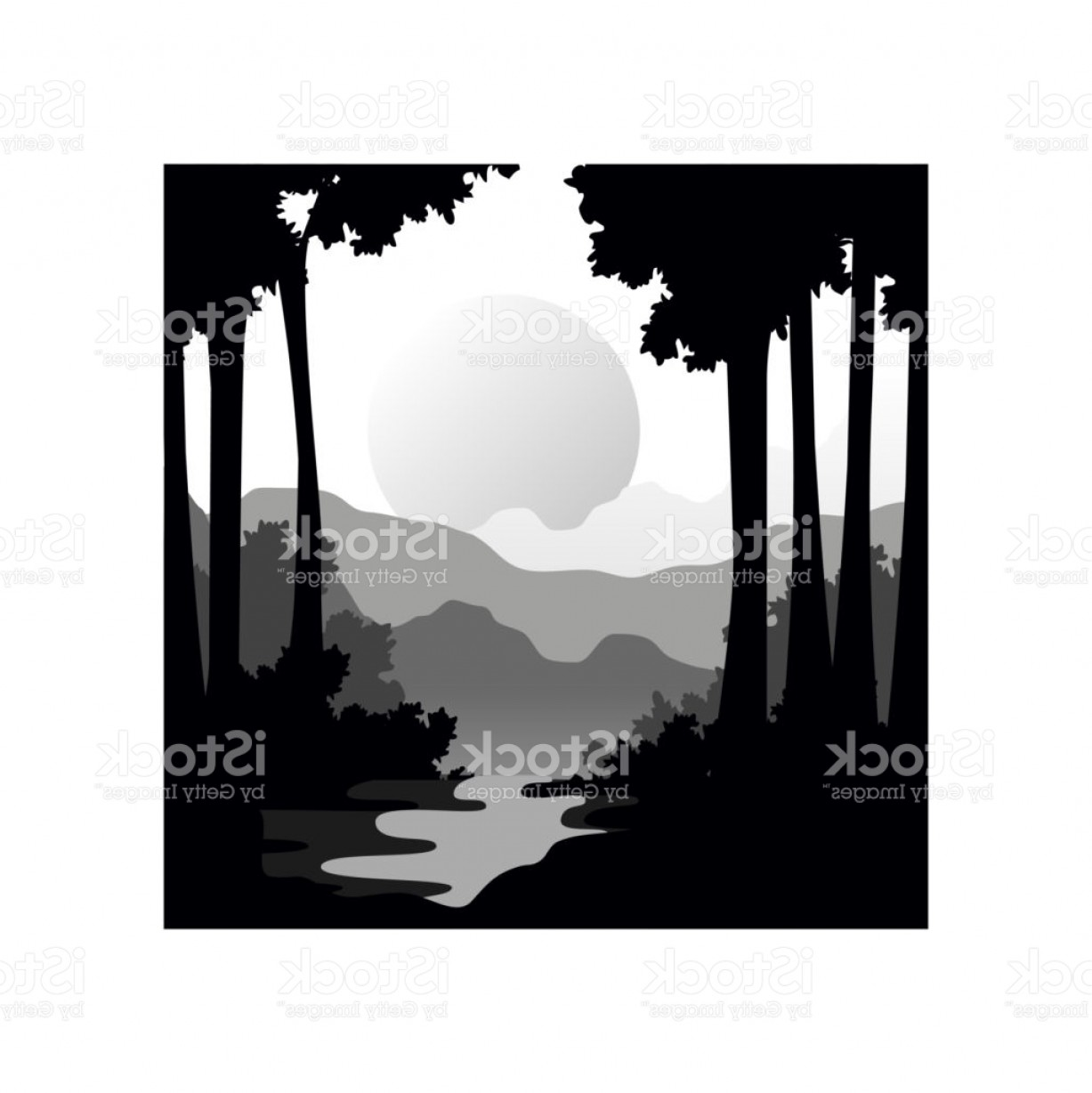River Silhouette Vector Art: Beautiful Nature Landscape With Silhouettes Of Forest Trees River And Sunset Of Big Gm