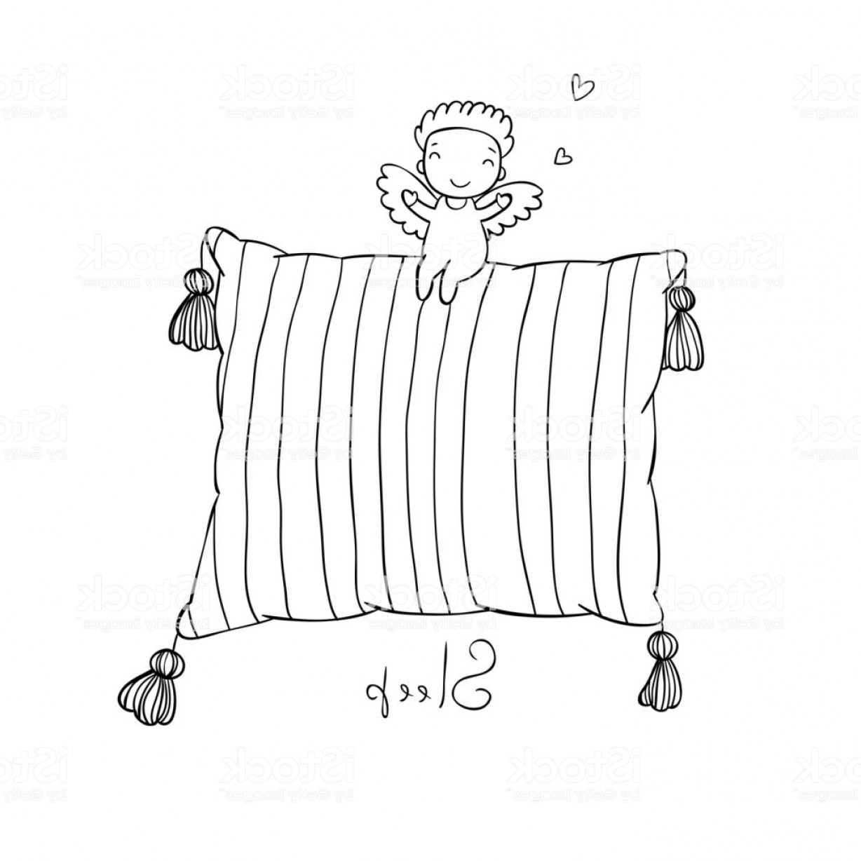 Little Angel Vector: Beautiful Pillows And Cute Little Angel Gm