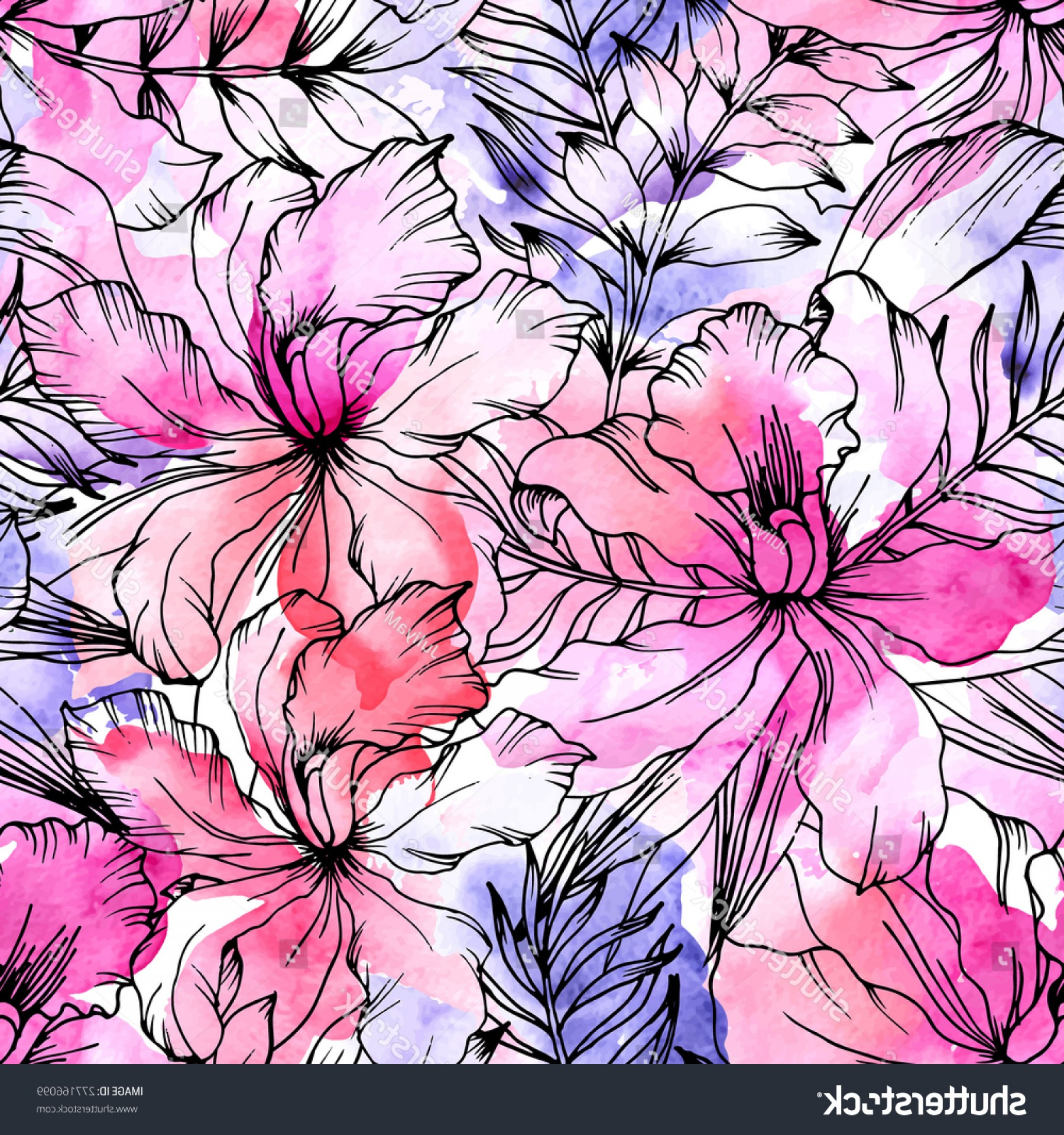Watercolor Floral Background Vector: Beautiful Seamless Floral Pattern Flower Vector
