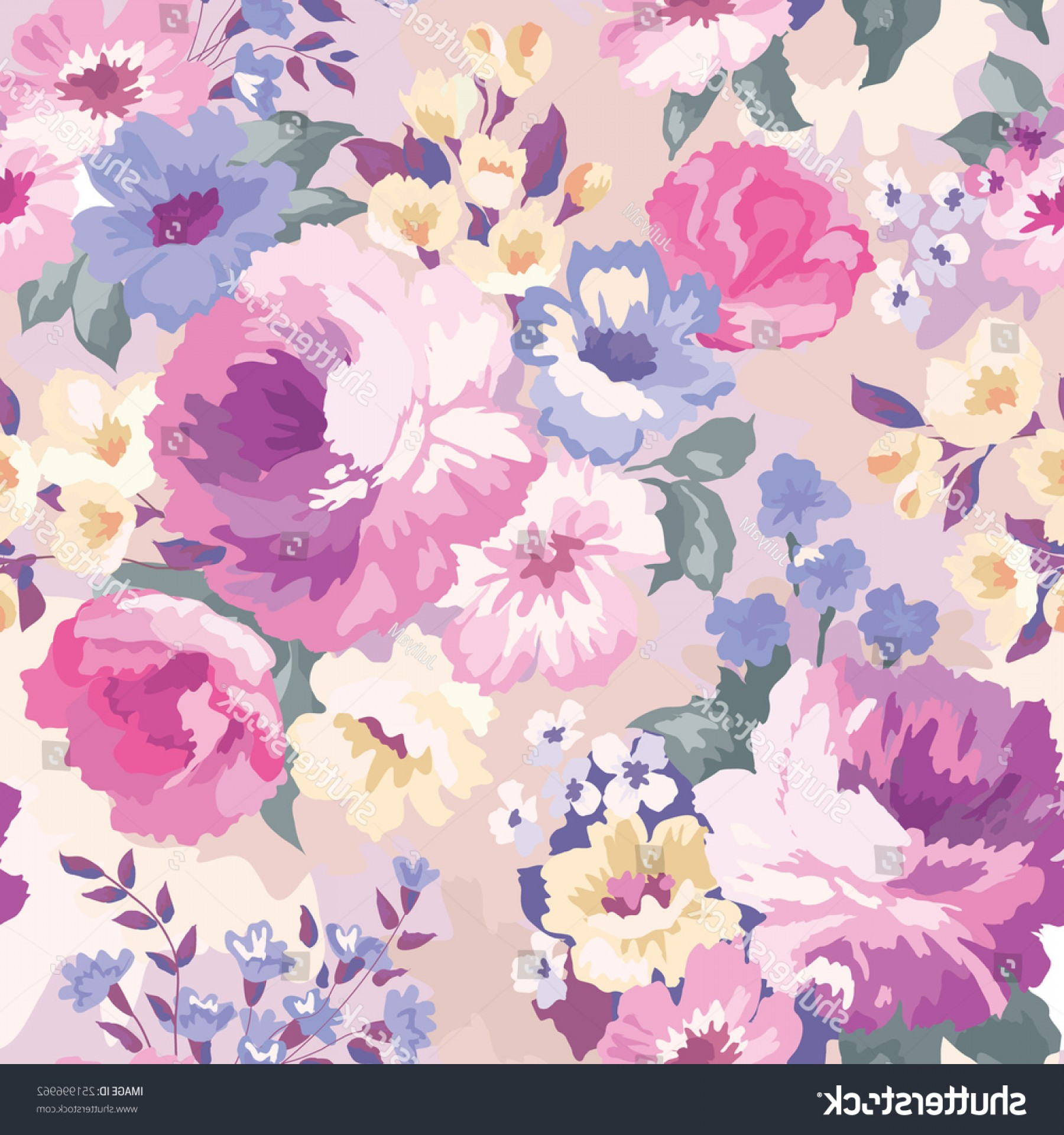 Watercolor Floral Background Vector: Beautiful Seamless Floral Pattern Watercolor Background