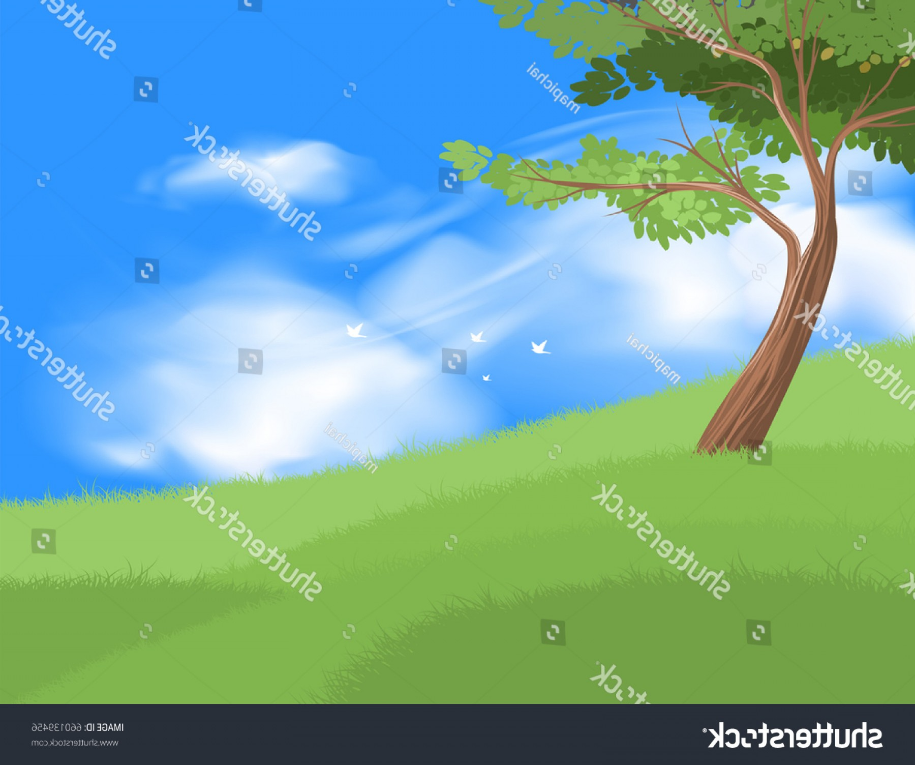 Vector Natural Background Sky: Beautiful Tree On Grass Field Vector