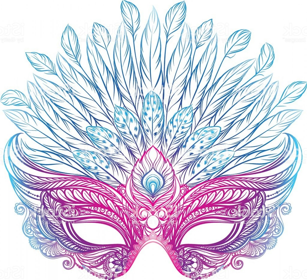Carnival Vector Feather Art: Beautiful Venetian Carnival Mask With Feathers Gm