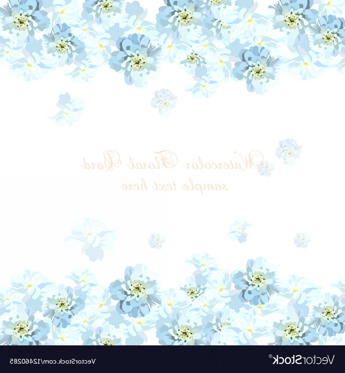 Watercolor Floral Background Vector: Beautiful Watercolor Blue Flowers Card Background Vector