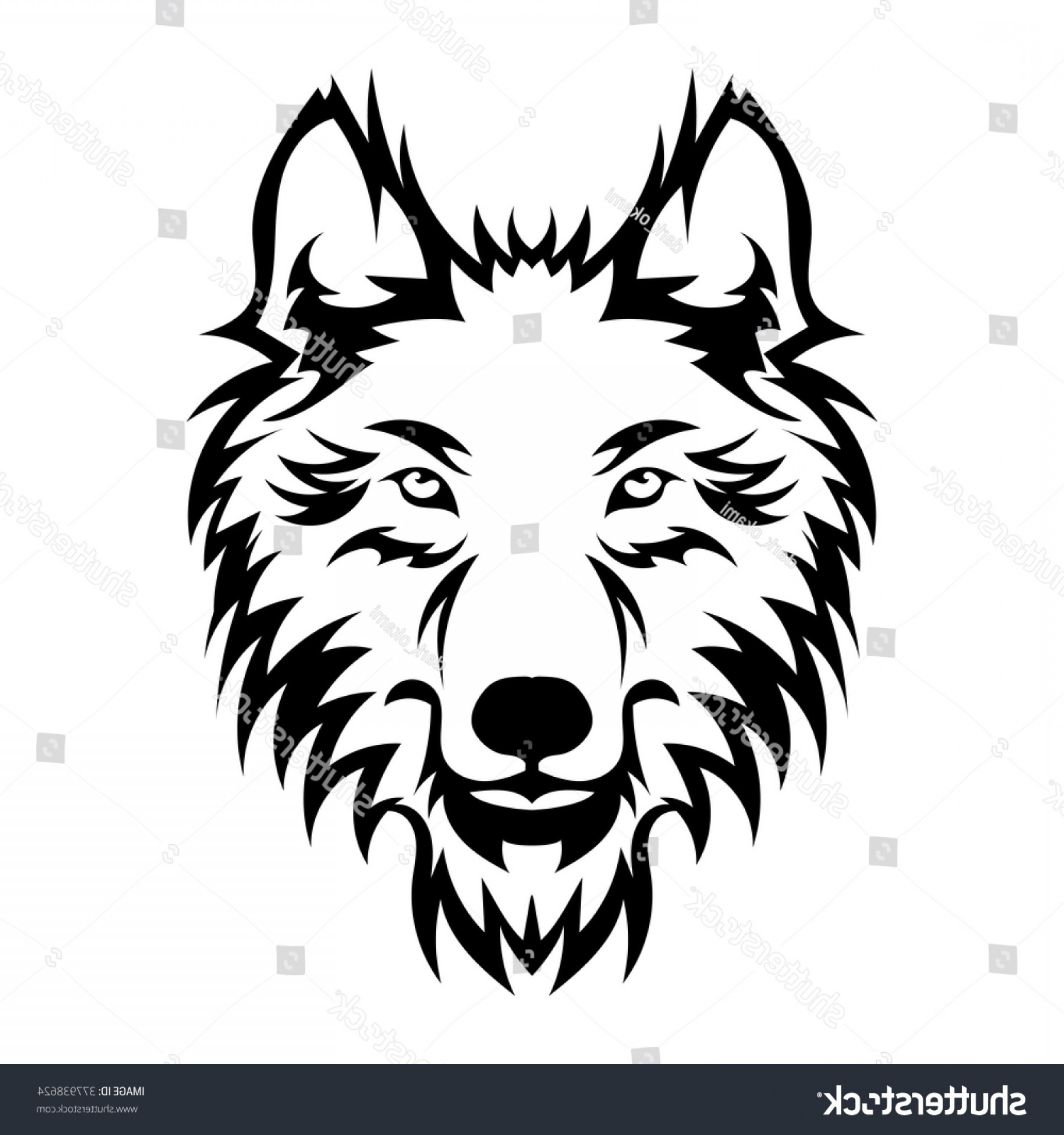 Calm Wolf Vector: Beautiful Wolf Tattoovector Wolfs Head Design