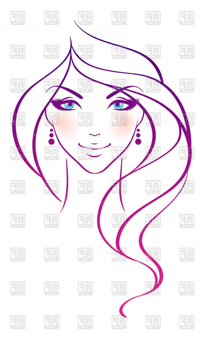Woman Silhouette Vector Face Expression: Beautiful Woman Face Outline Portrait Vector Clipart