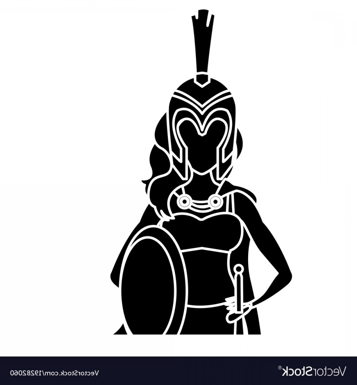 Warrior Vector Art: Beautiful Woman Medieval Warrior Vector