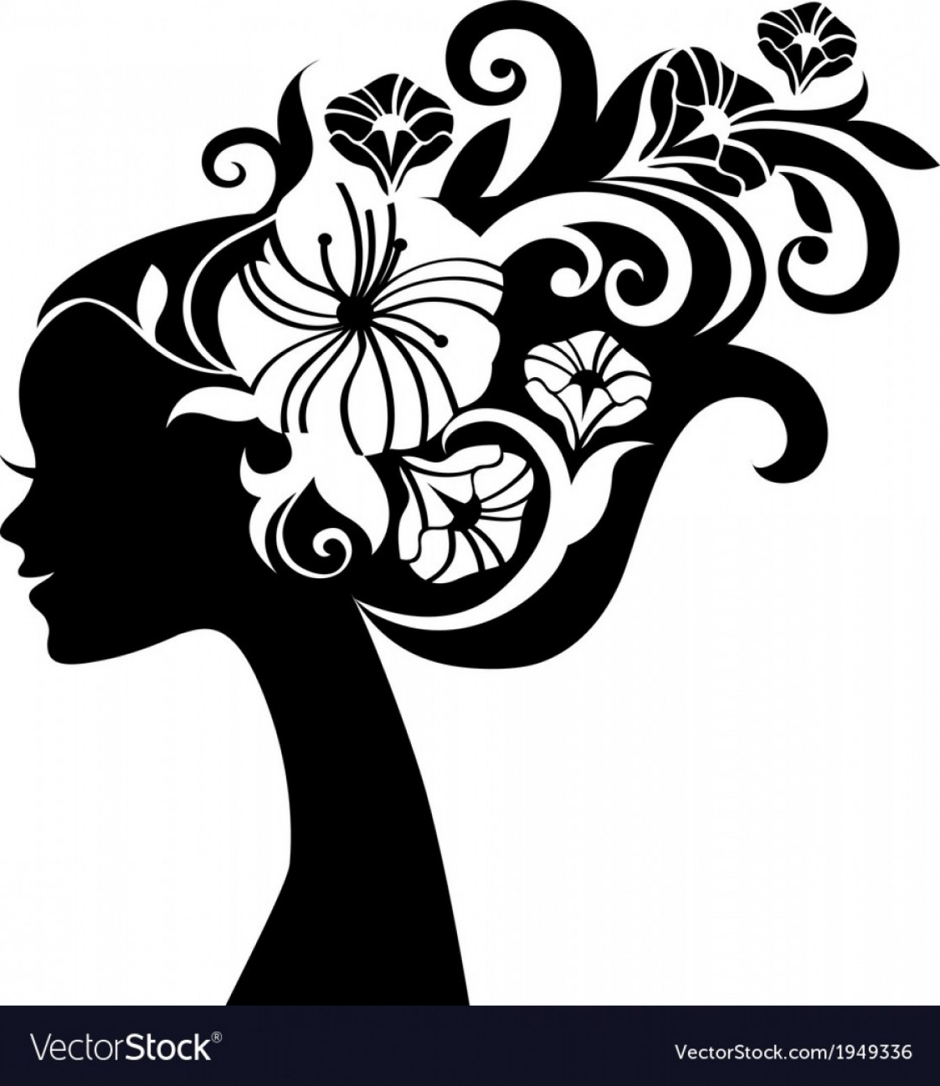 Beautiful Flowers Vector Graphic: Beautiful Woman Silhouette With Flowers Vector