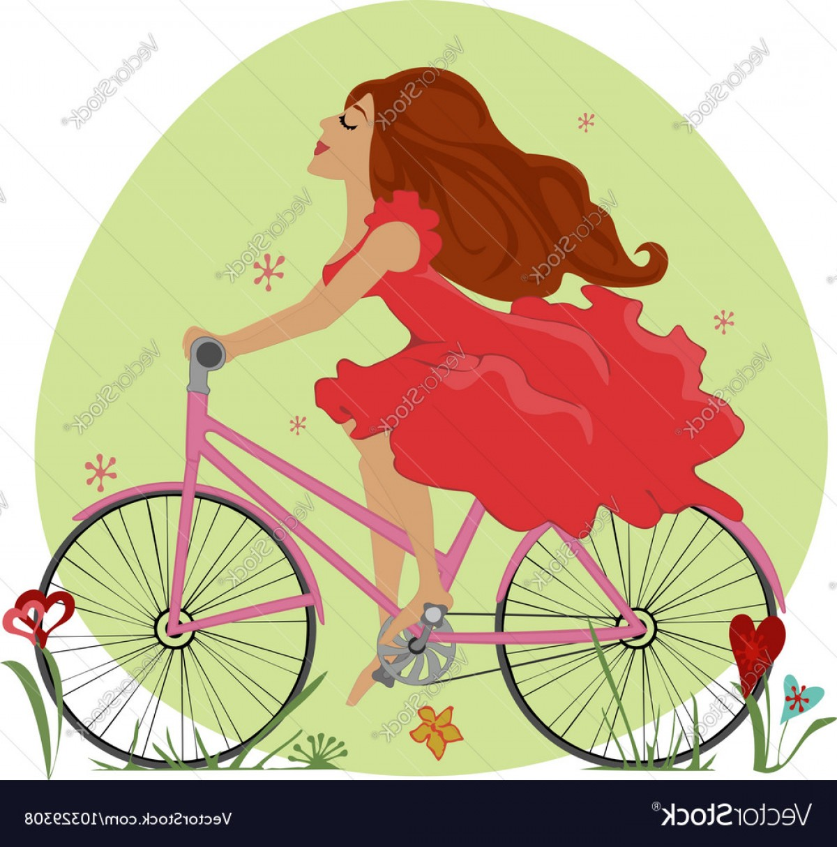 Beautiful Bicycle Vector: Beautiful Young Girl Rides A Bicycle Vector