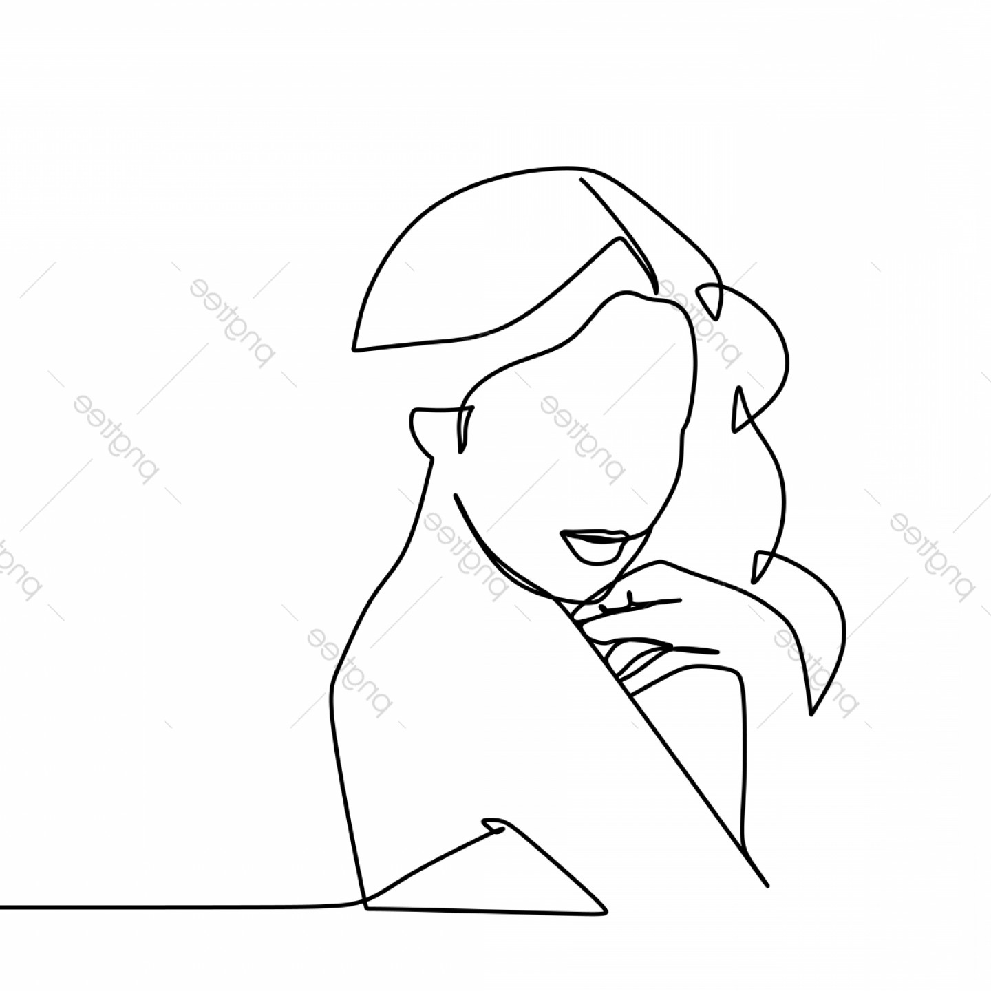 Girl Face Vector Art Black And White: Beauty Face Girl Vector Illustration Using One Continuous Line Art Drawing Isolated On White Background