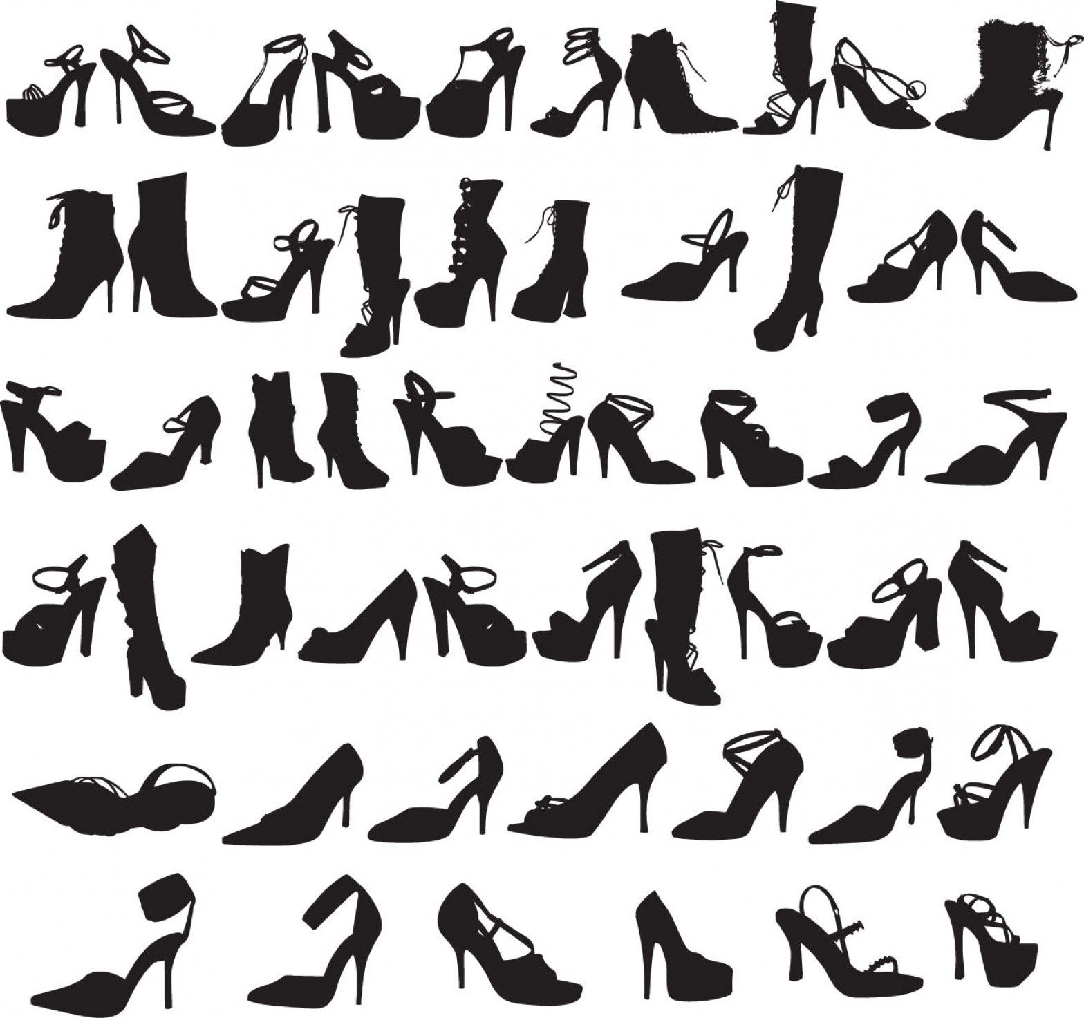 Silhouette Hee High Vector Lsitleetios: Beauty Fashion Shoes Silhouettes Vector Graphic