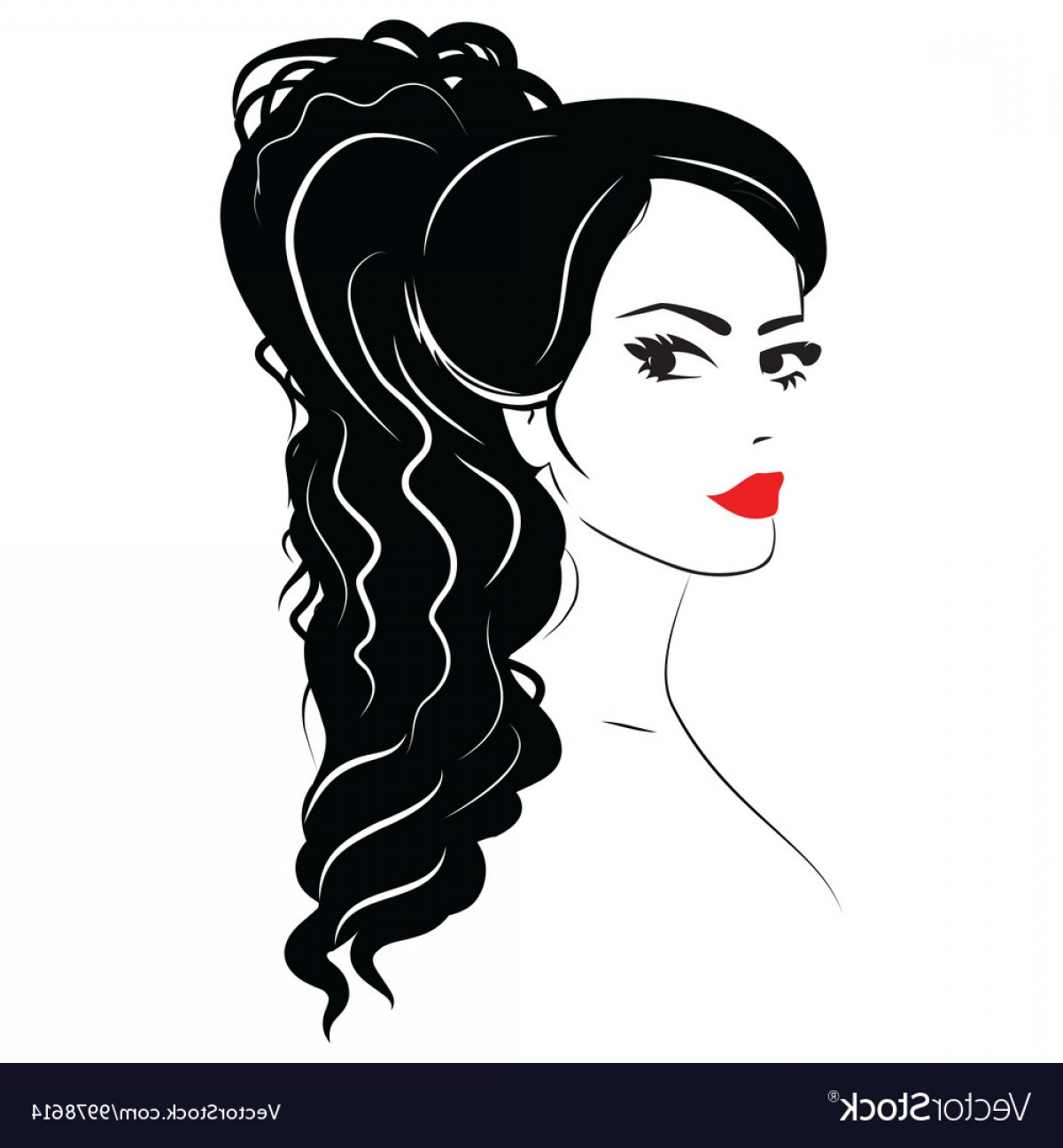 Black Beauty Vector Face: Beauty Girl Face Sketch Woman Face Vector