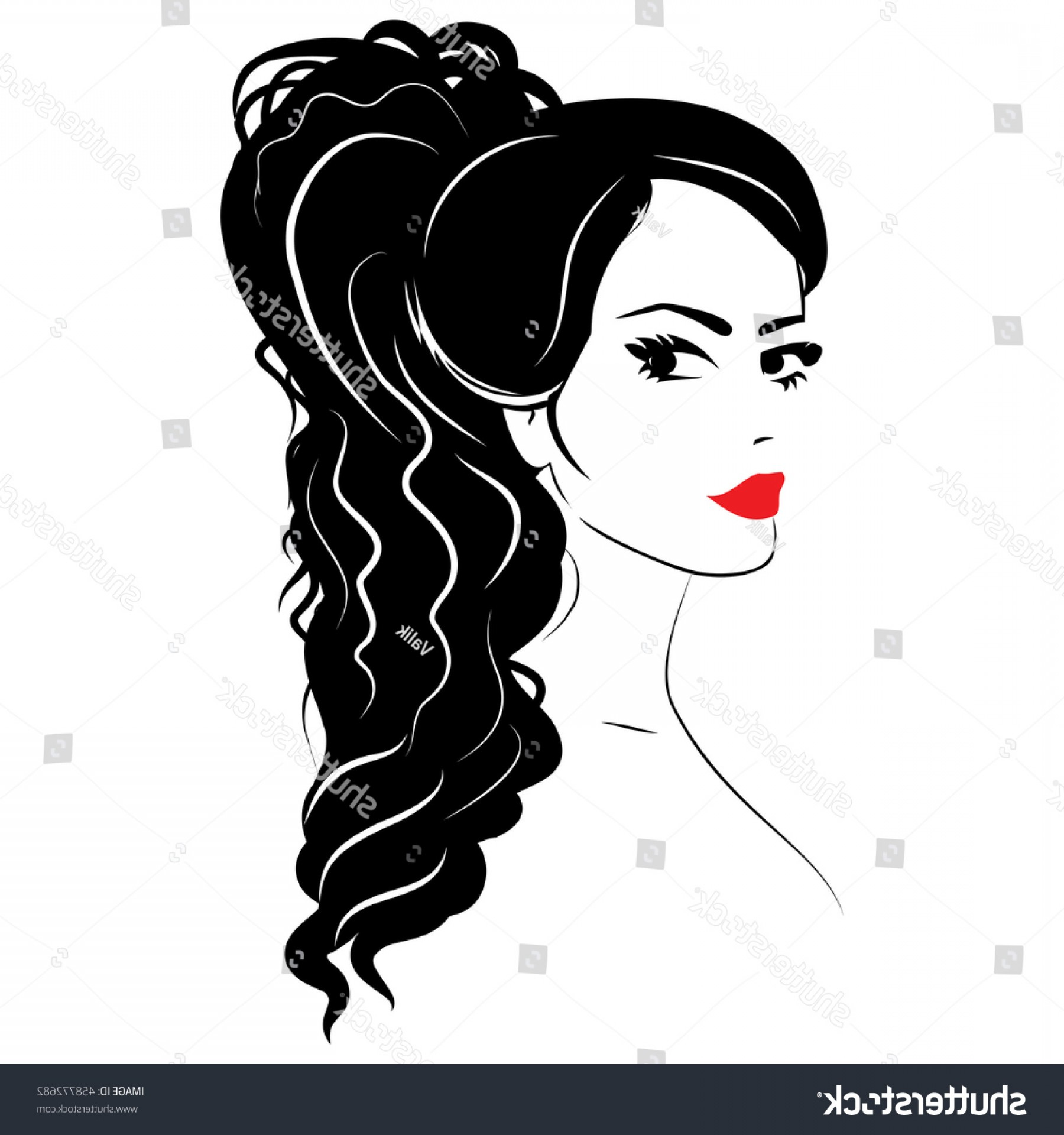 Lady Face Layers Vector: Beauty Girl Face Sketch Woman Vector