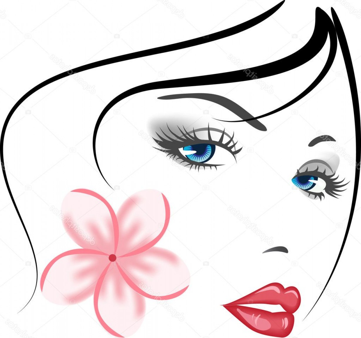 Black Beauty Vector Face: Beauty Vector Face Girl Portrait Black White
